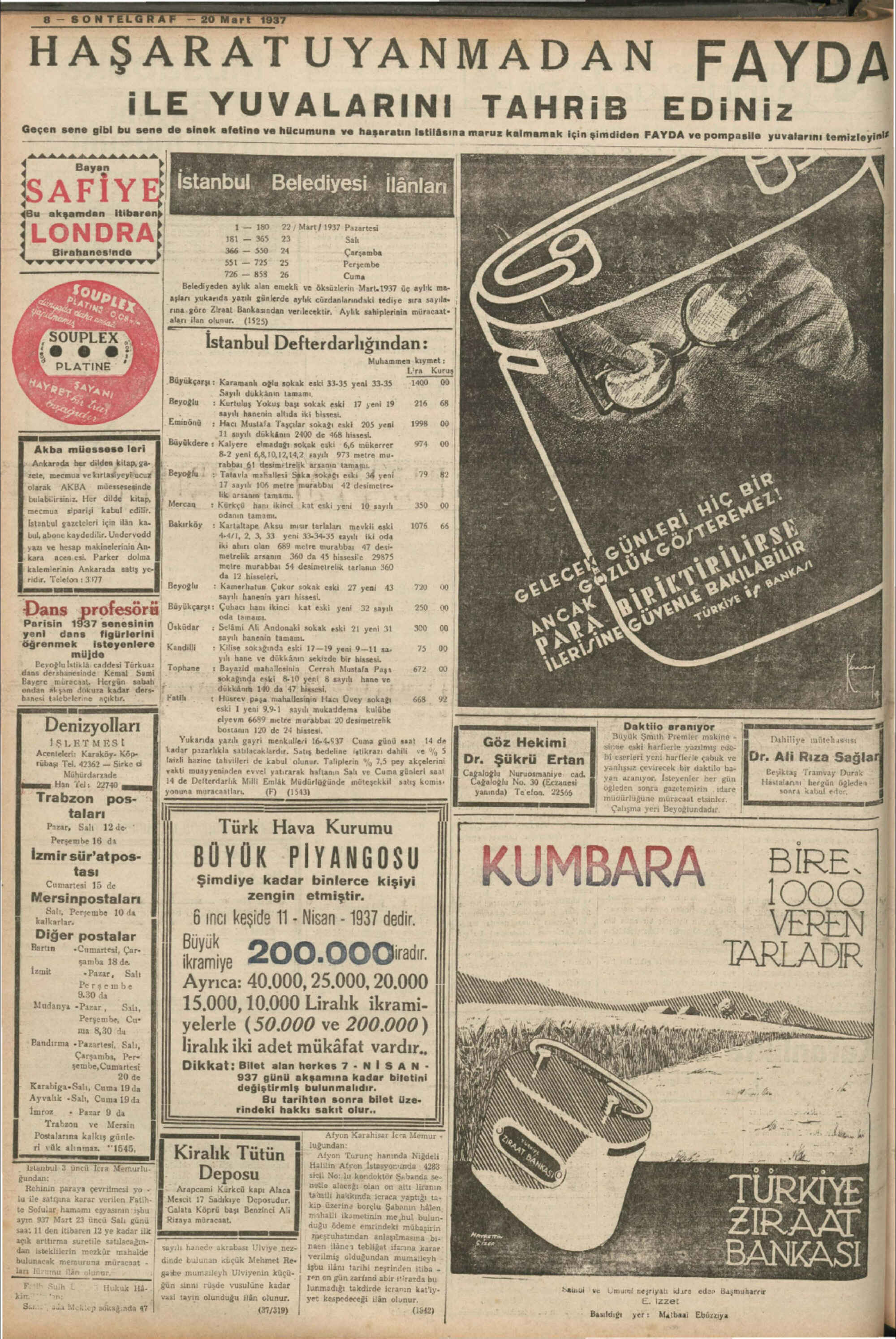 21 Mart 1937 Tarihli Son Telgraf Gazetesi Sayfa 1