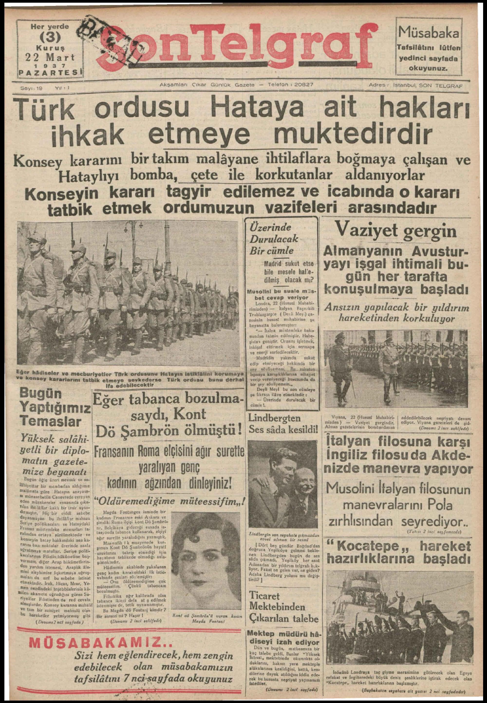 22 Mart 1937 Tarihli Son Telgraf Gazetesi Sayfa 1
