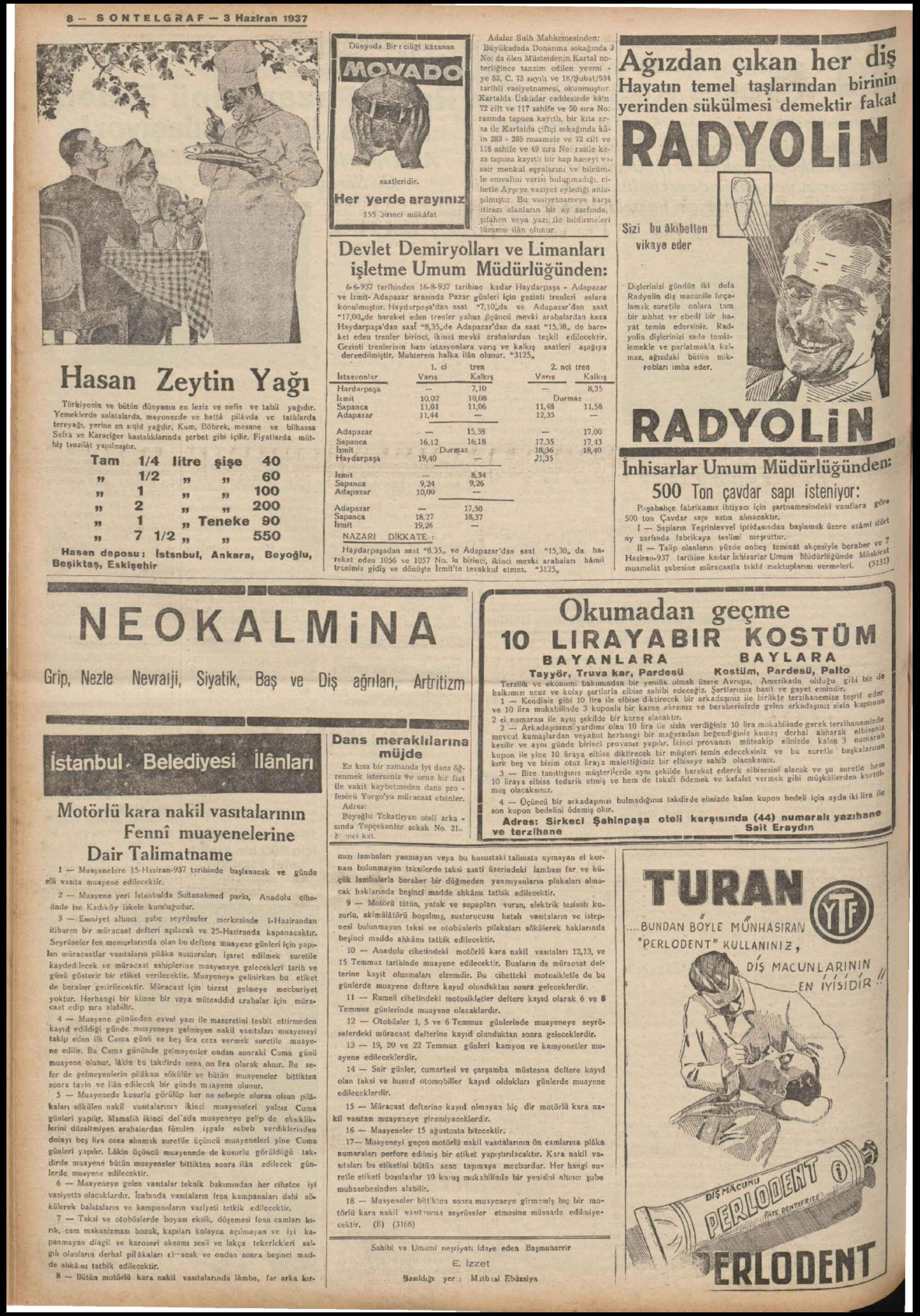 3 Haziran 1937 Tarihli Son Telgraf Gazetesi Sayfa 8