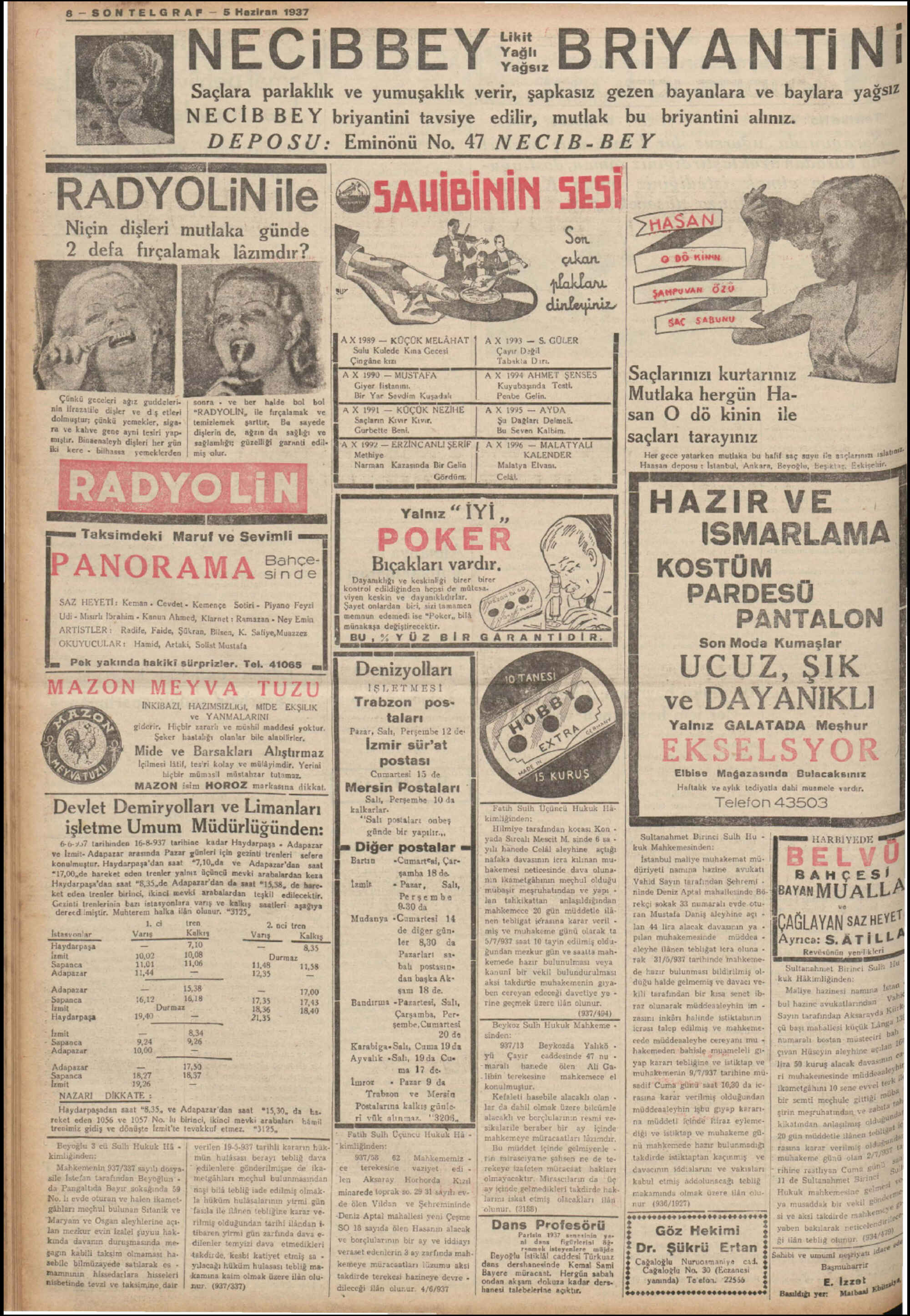 5 Haziran 1937 Tarihli Son Telgraf Gazetesi Sayfa 8