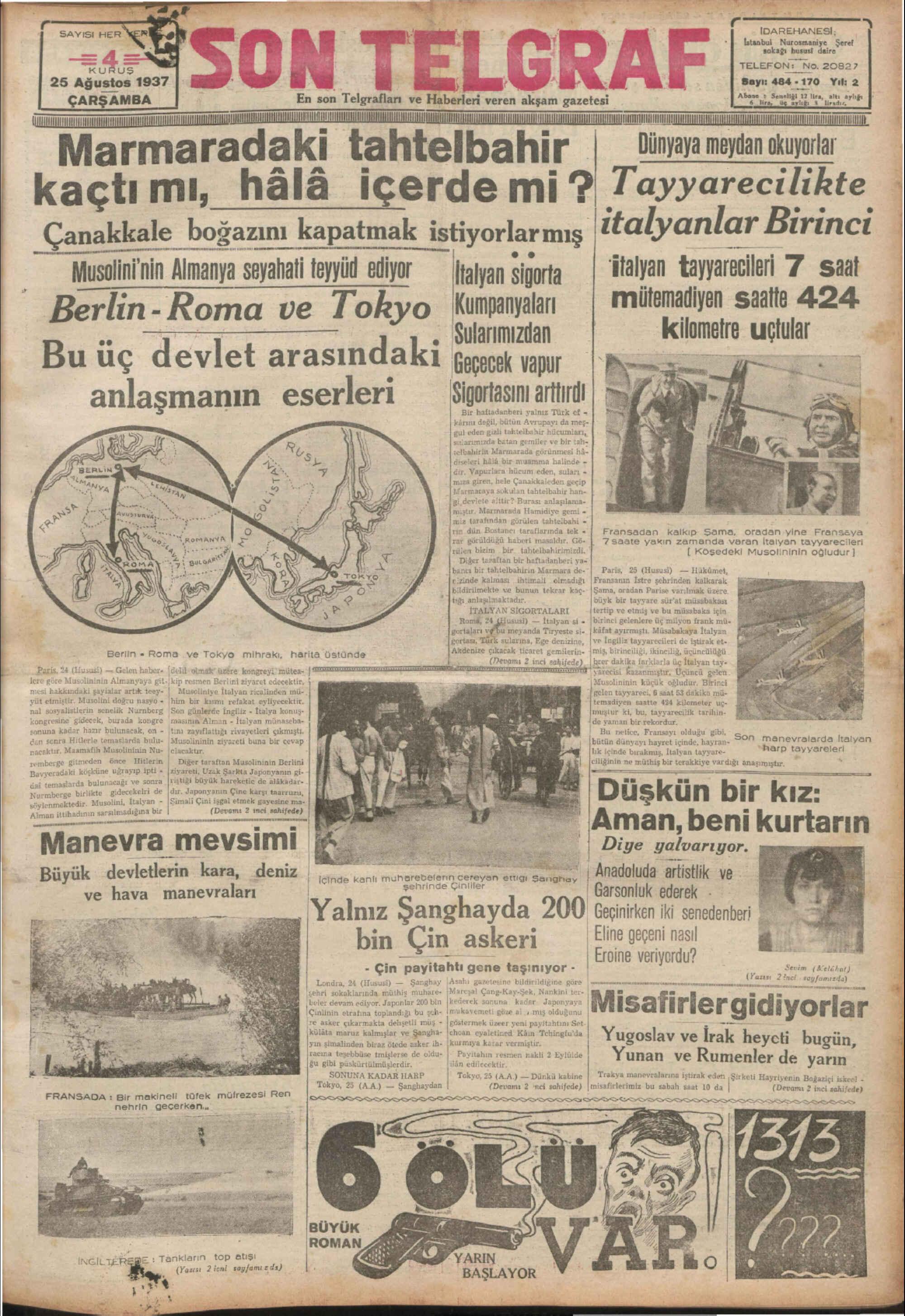 25 Ağustos 1937 Tarihli Son Telgraf Gazetesi Sayfa 1