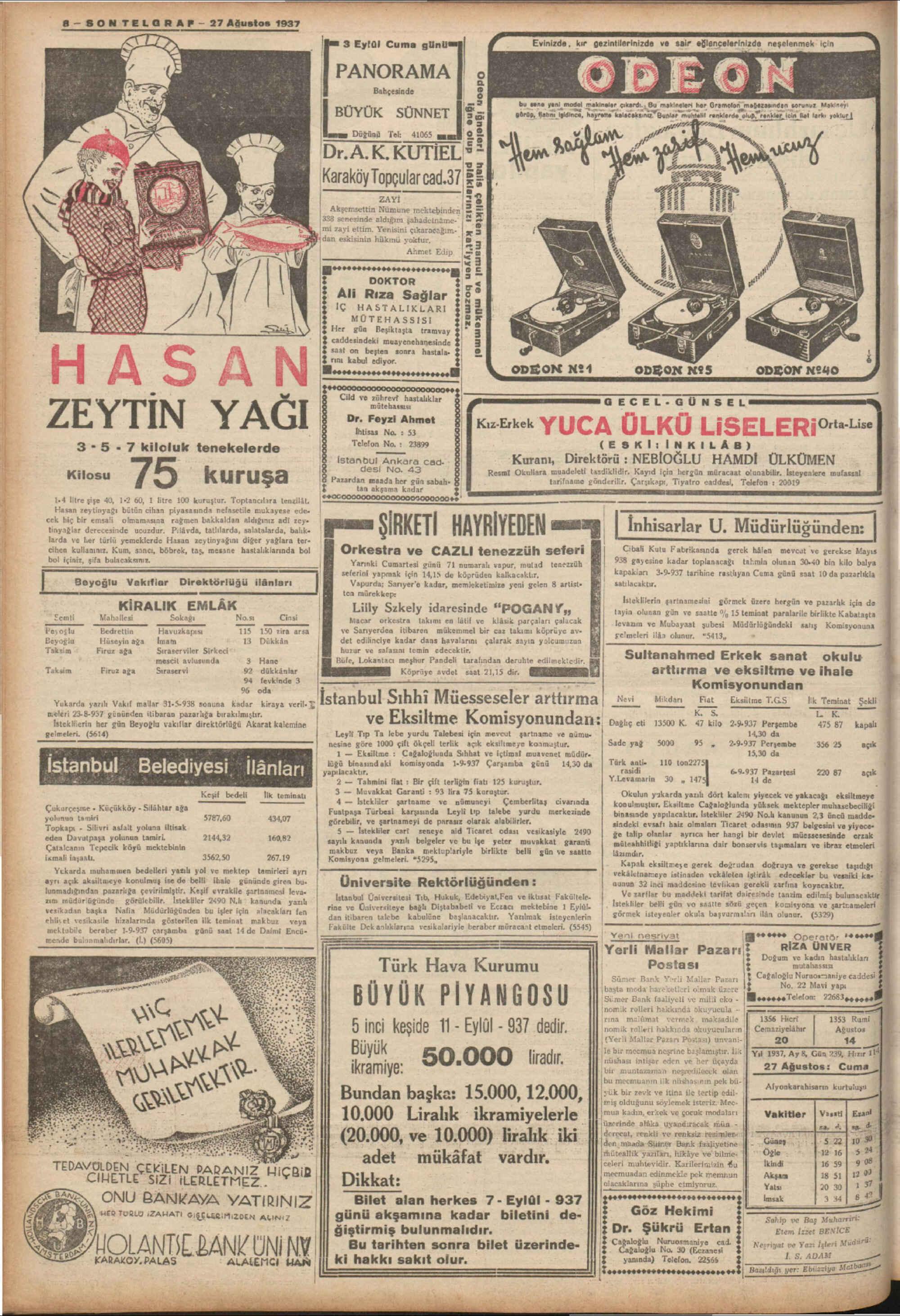 August 27, 1937 Tarihli Son Telgraf Dergisi Sayfa 8