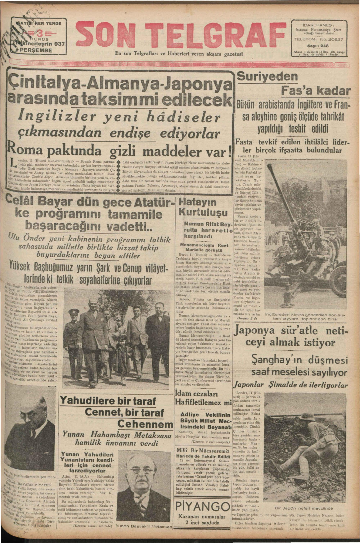 11 Kasım 1937 Tarihli Son Telgraf Gazetesi Sayfa 1