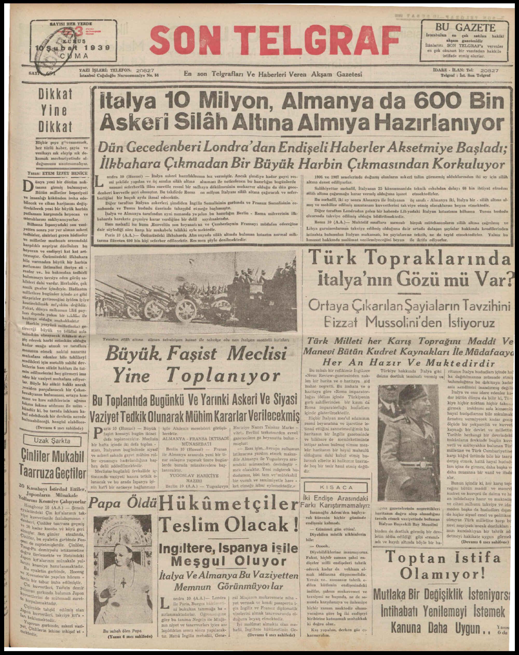 10 Şubat 1939 Tarihli Son Telgraf Gazetesi Sayfa 1