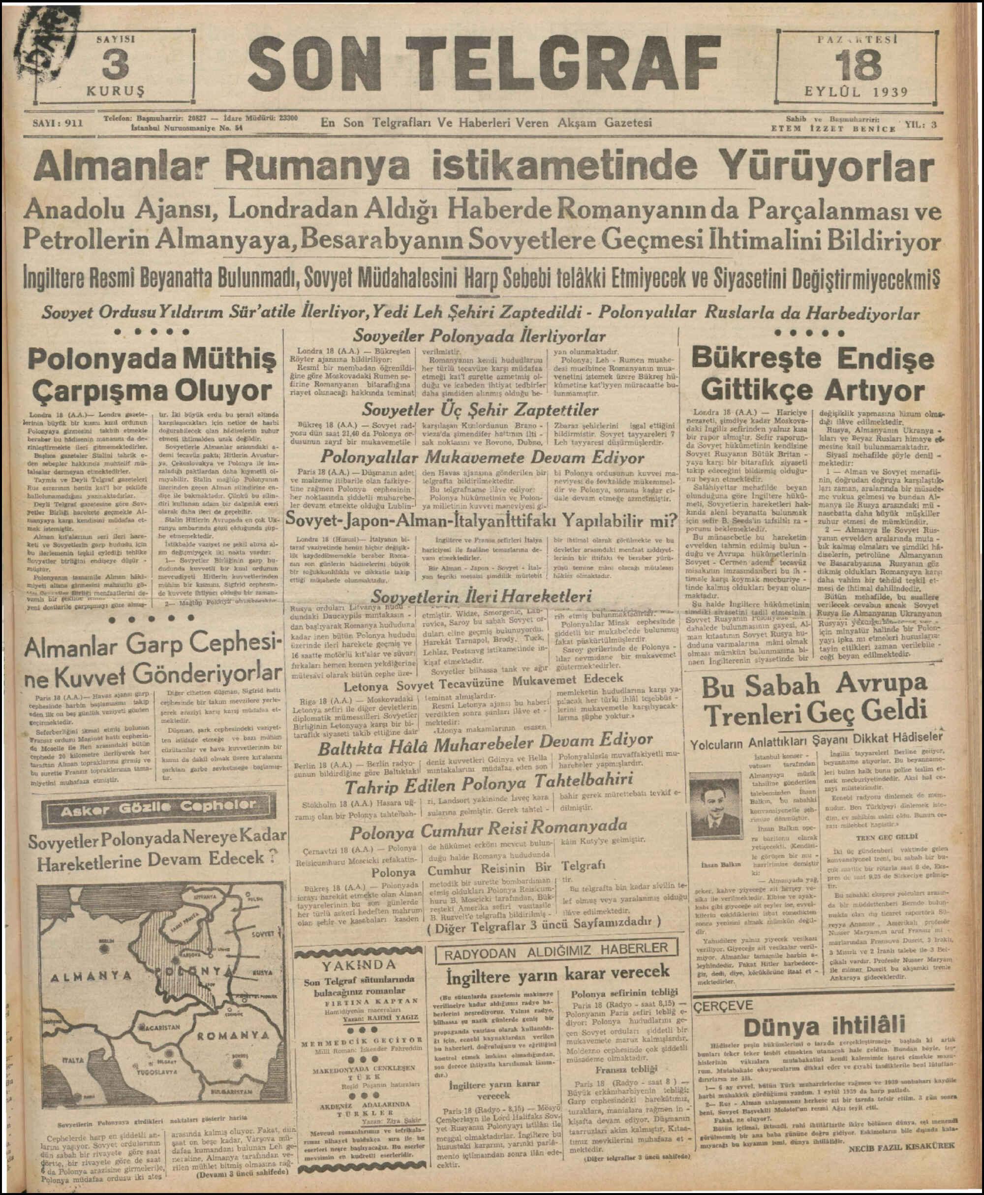 18 Eylül 1939 Tarihli Son Telgraf Dergisi Sayfa 1