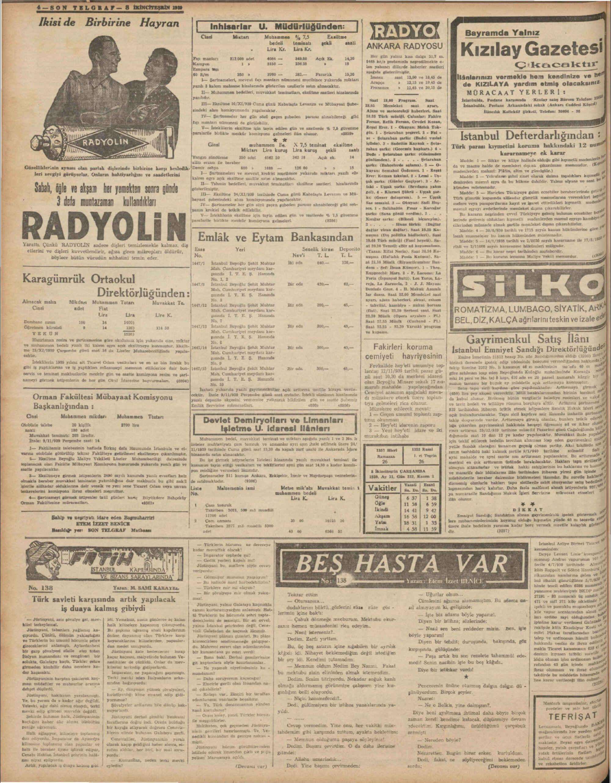 8 Kasım 1939 Tarihli Son Telgraf Dergisi Sayfa 4