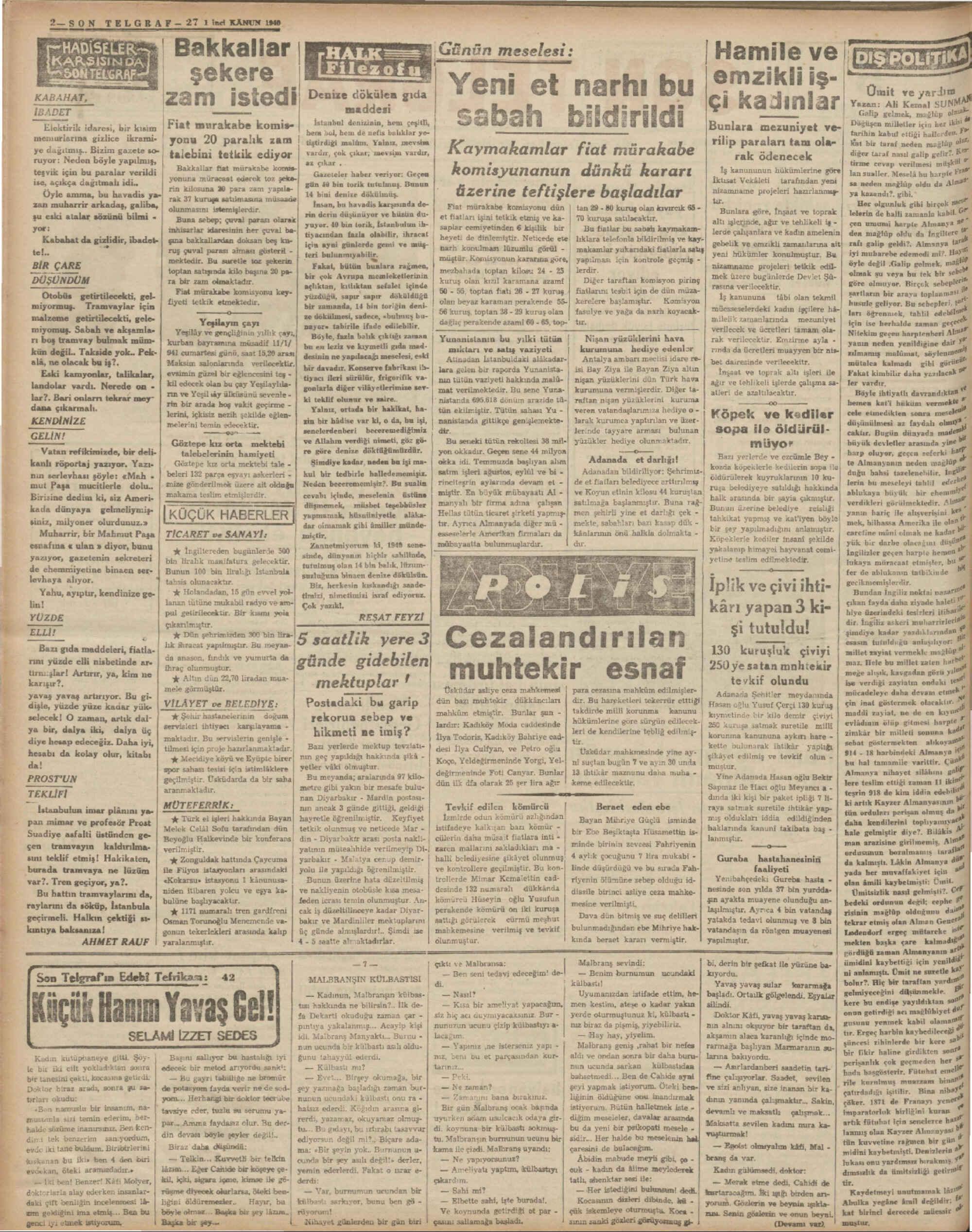 27 Aralık 1940 Tarihli Son Telgraf Dergisi Sayfa 2
