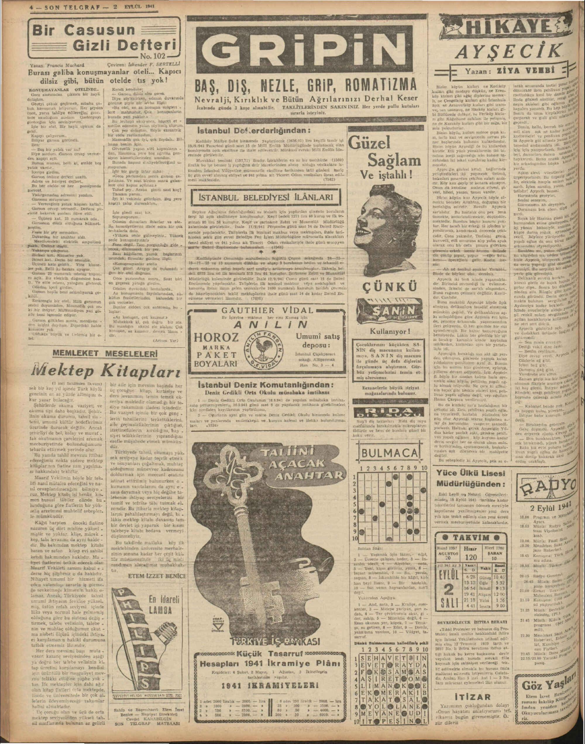 2 Eylül 1941 Tarihli Son Telgraf Dergisi Sayfa 4
