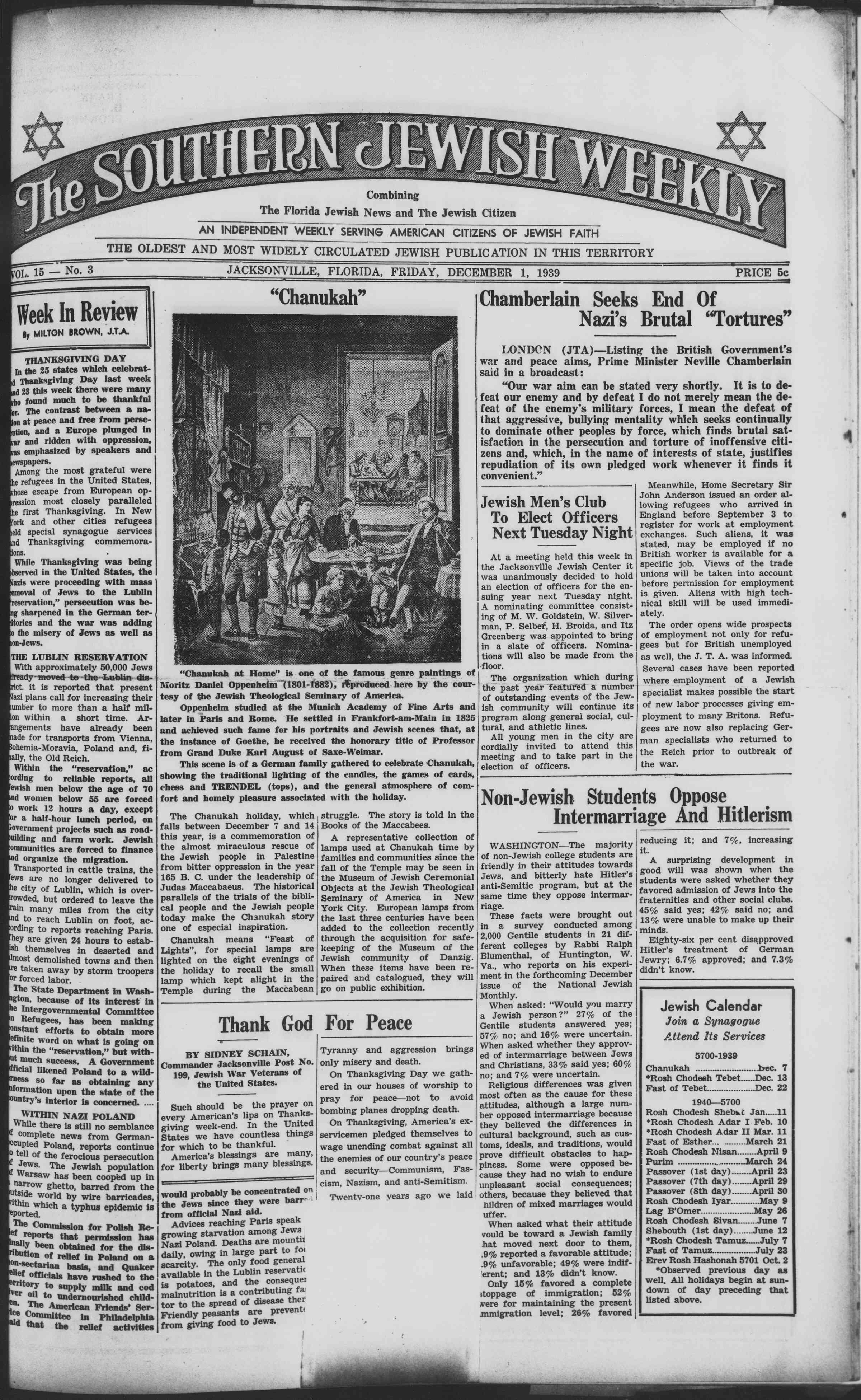 1 Aralık 1939 Tarihli Southern Jewish Weekly Dergisi Sayfa 1