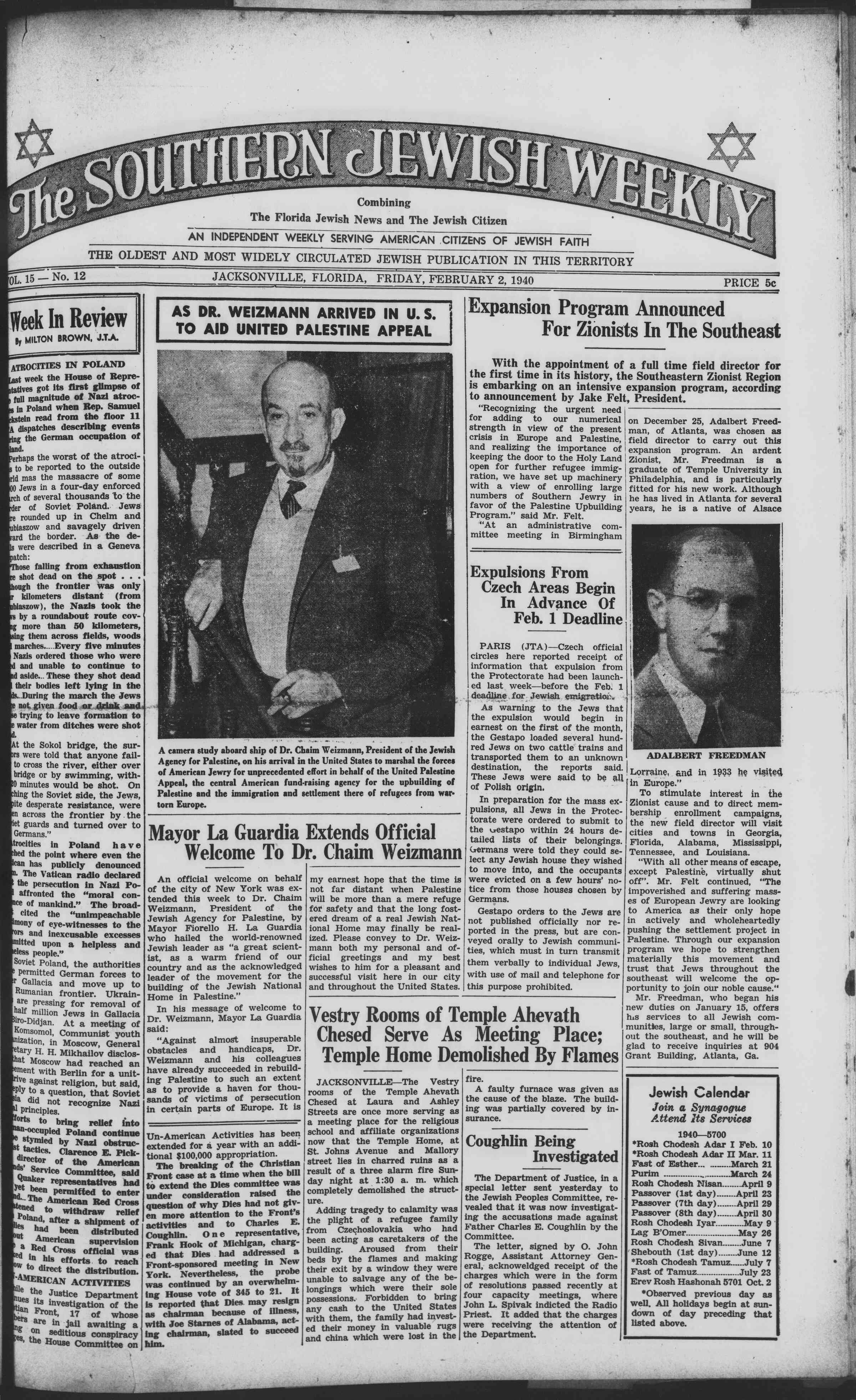 2 Şubat 1940 Tarihli Southern Jewish Weekly Dergisi Sayfa 1