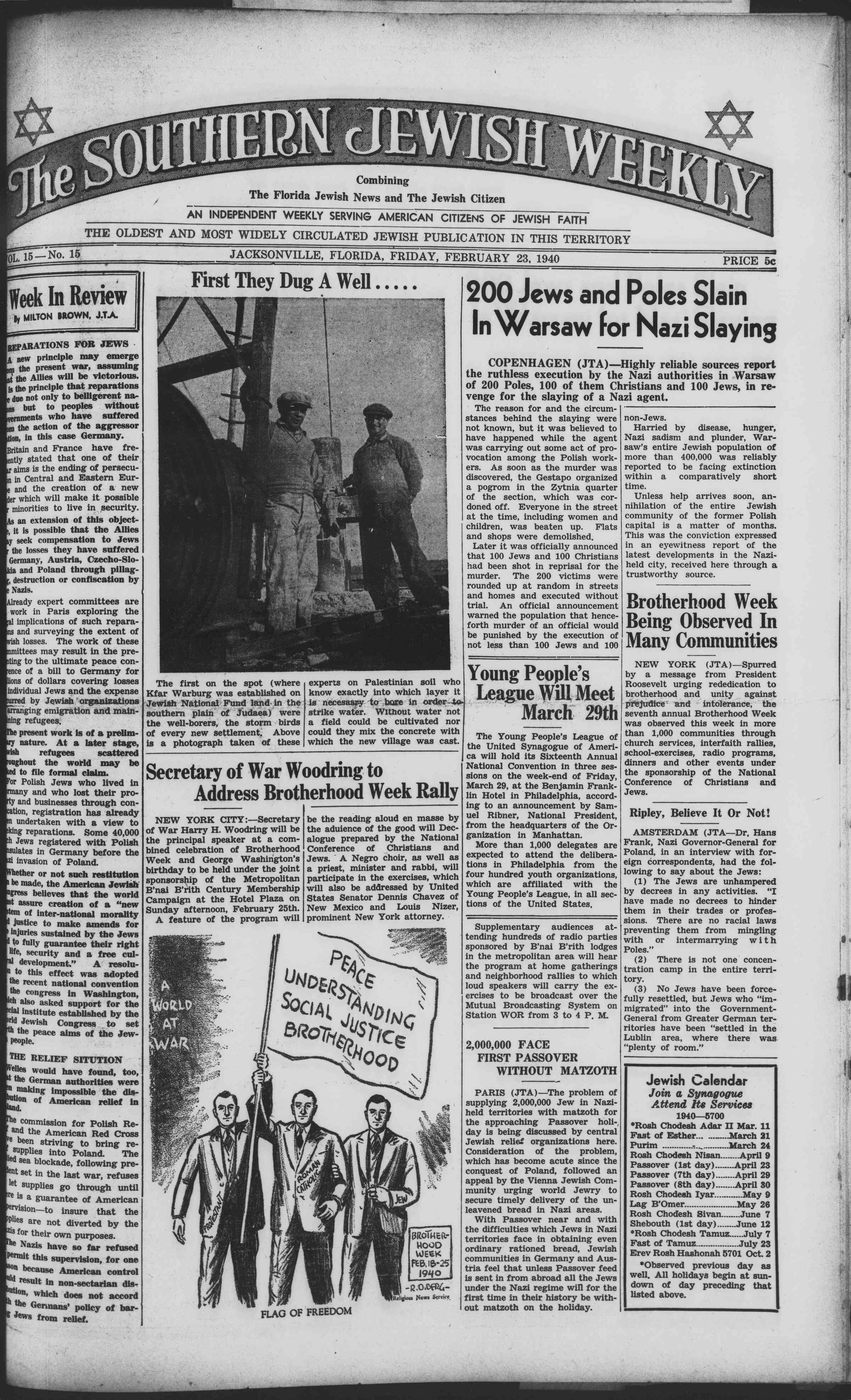 23 Şubat 1940 Tarihli Southern Jewish Weekly Dergisi Sayfa 1