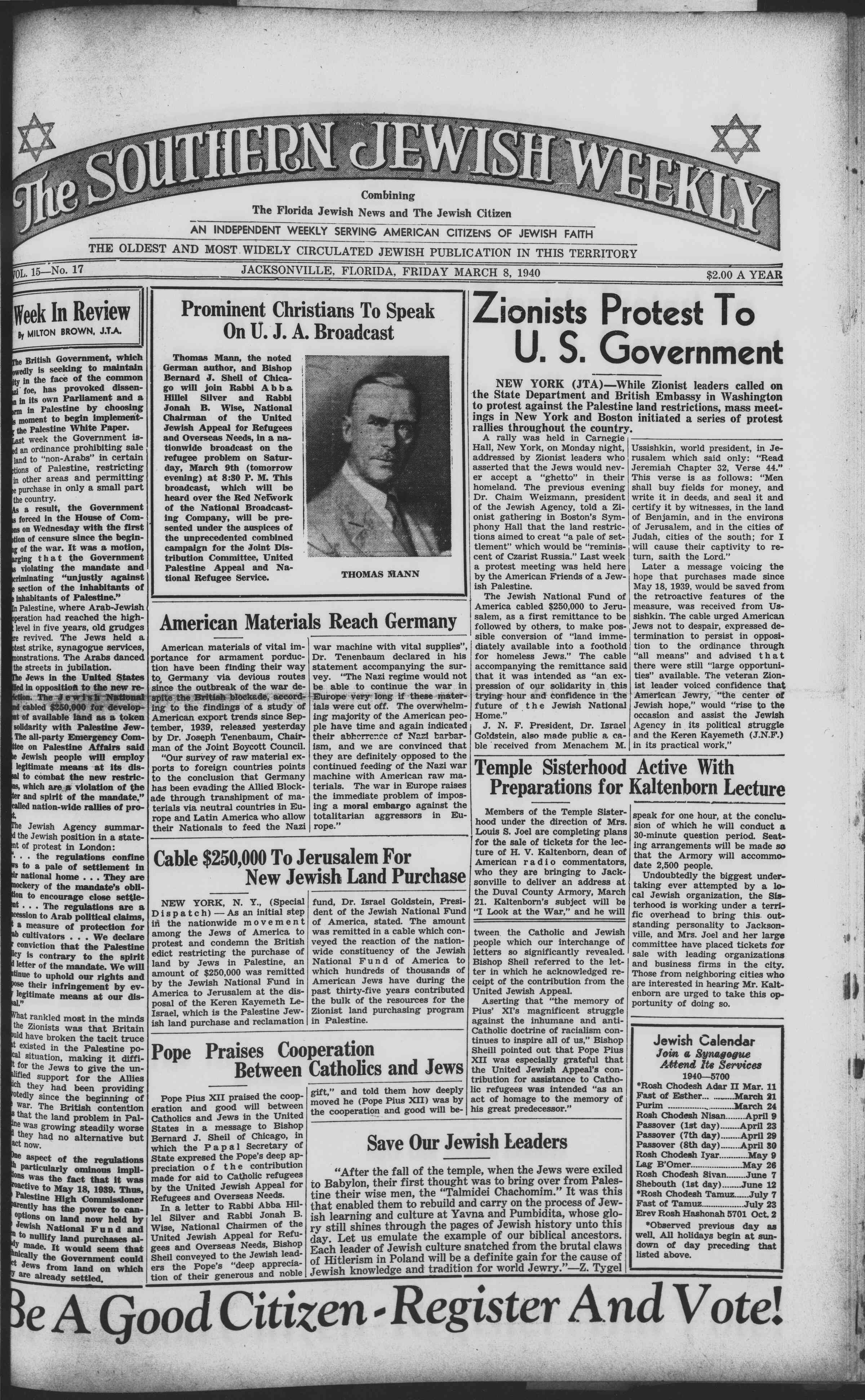 8 Mart 1940 Tarihli Southern Jewish Weekly Dergisi Sayfa 1