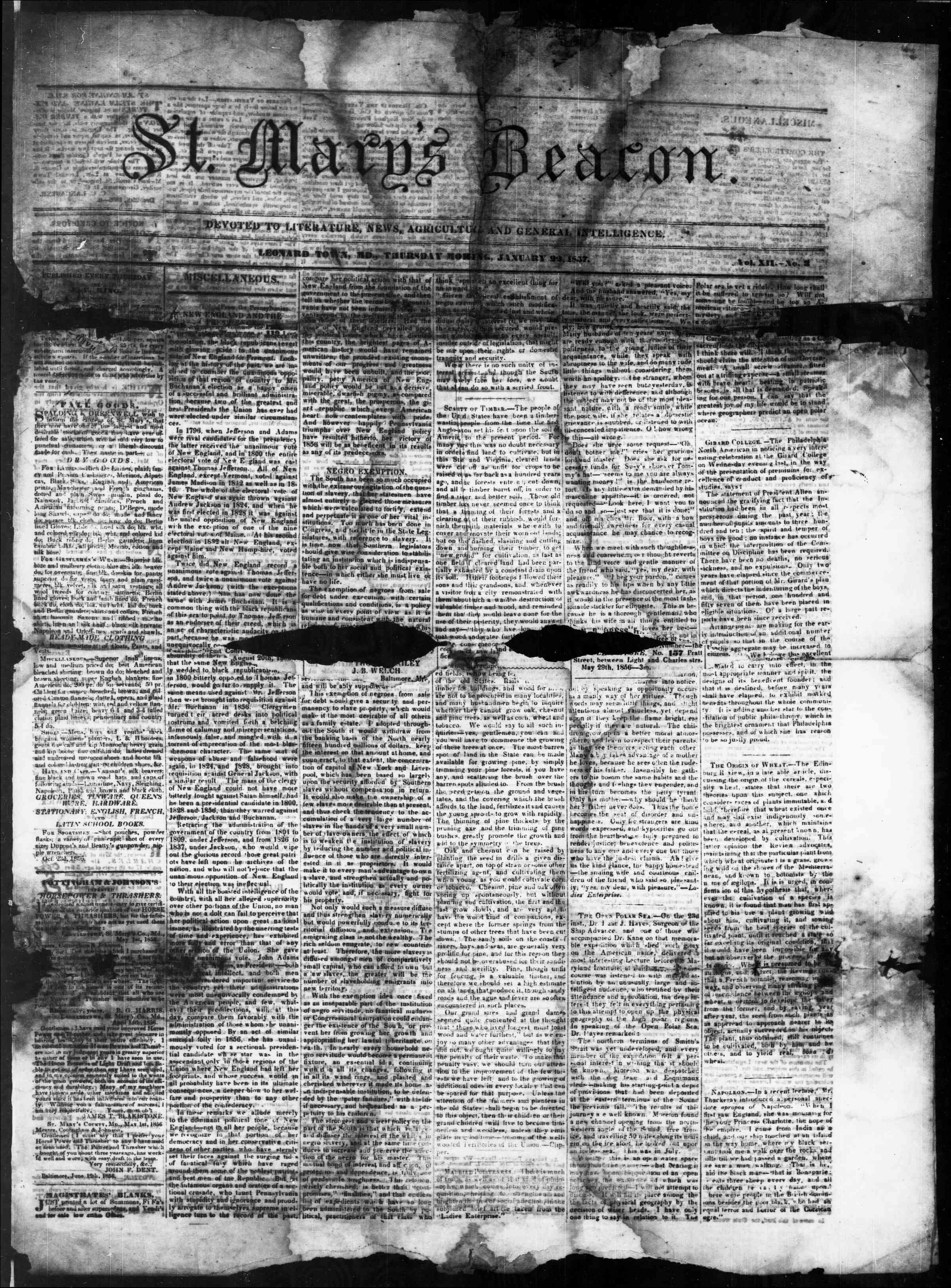 Newspaper of St. Mary's Beacon dated January 22, 1857 Page 1