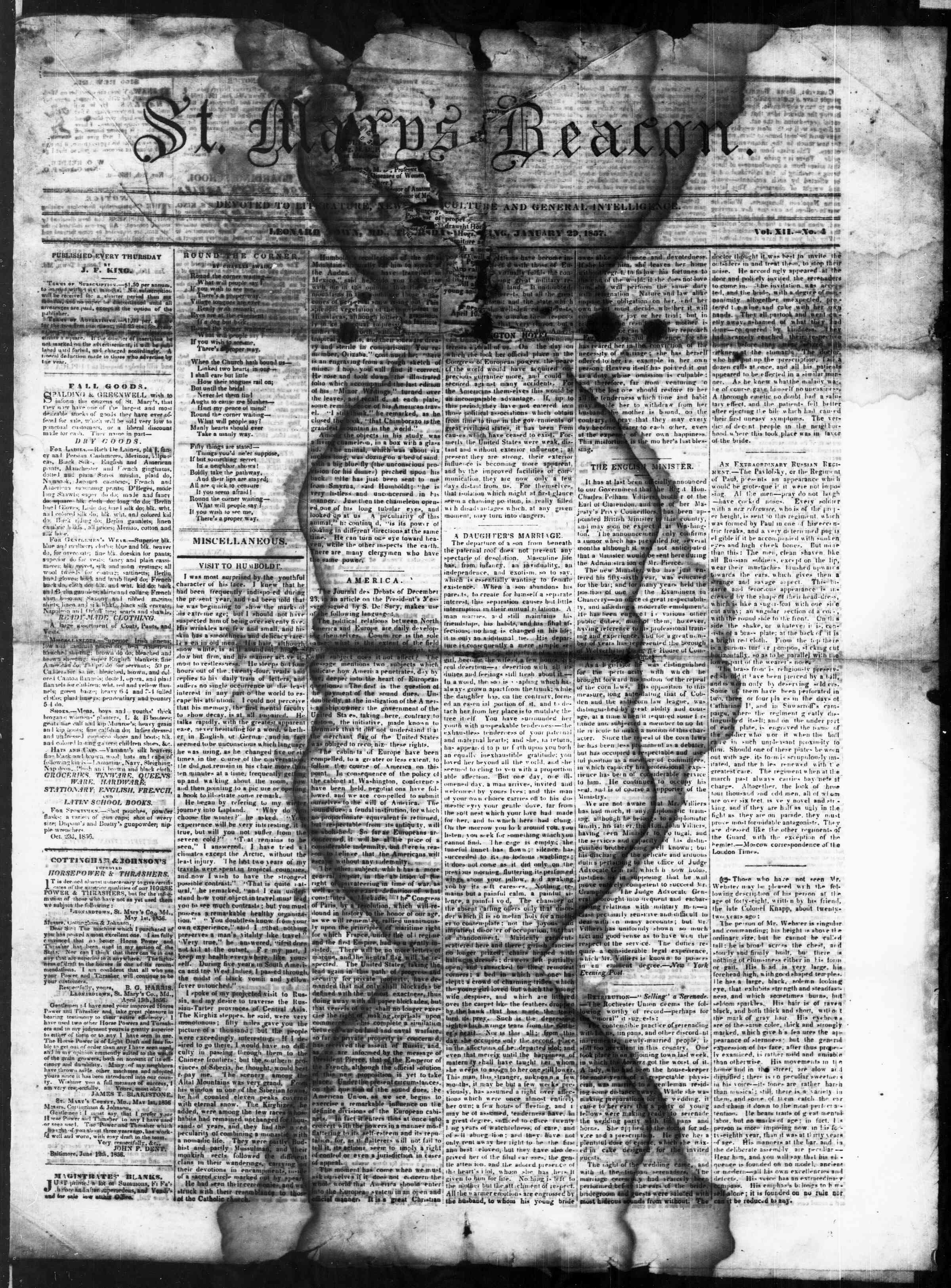 Newspaper of St. Mary's Beacon dated January 29, 1857 Page 1