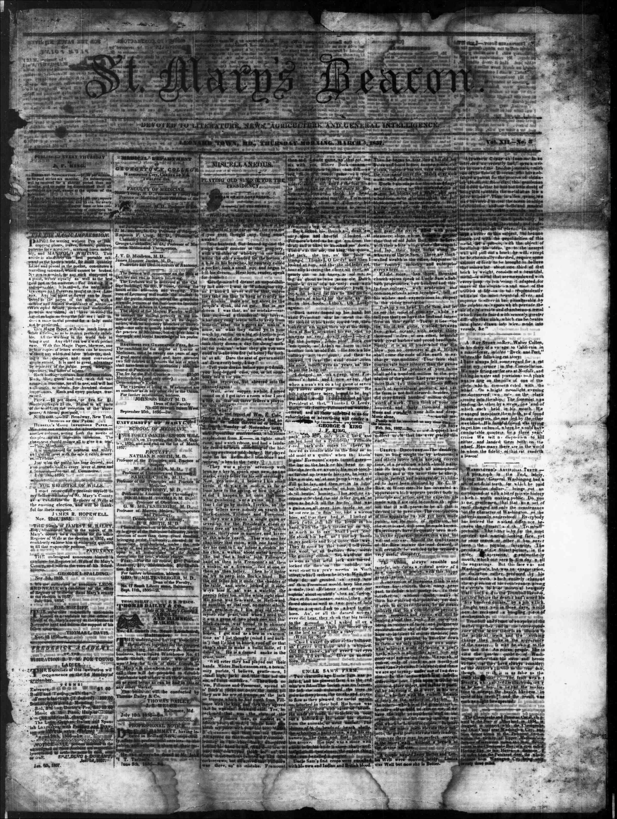 Newspaper of St. Mary's Beacon dated March 5, 1857 Page 1