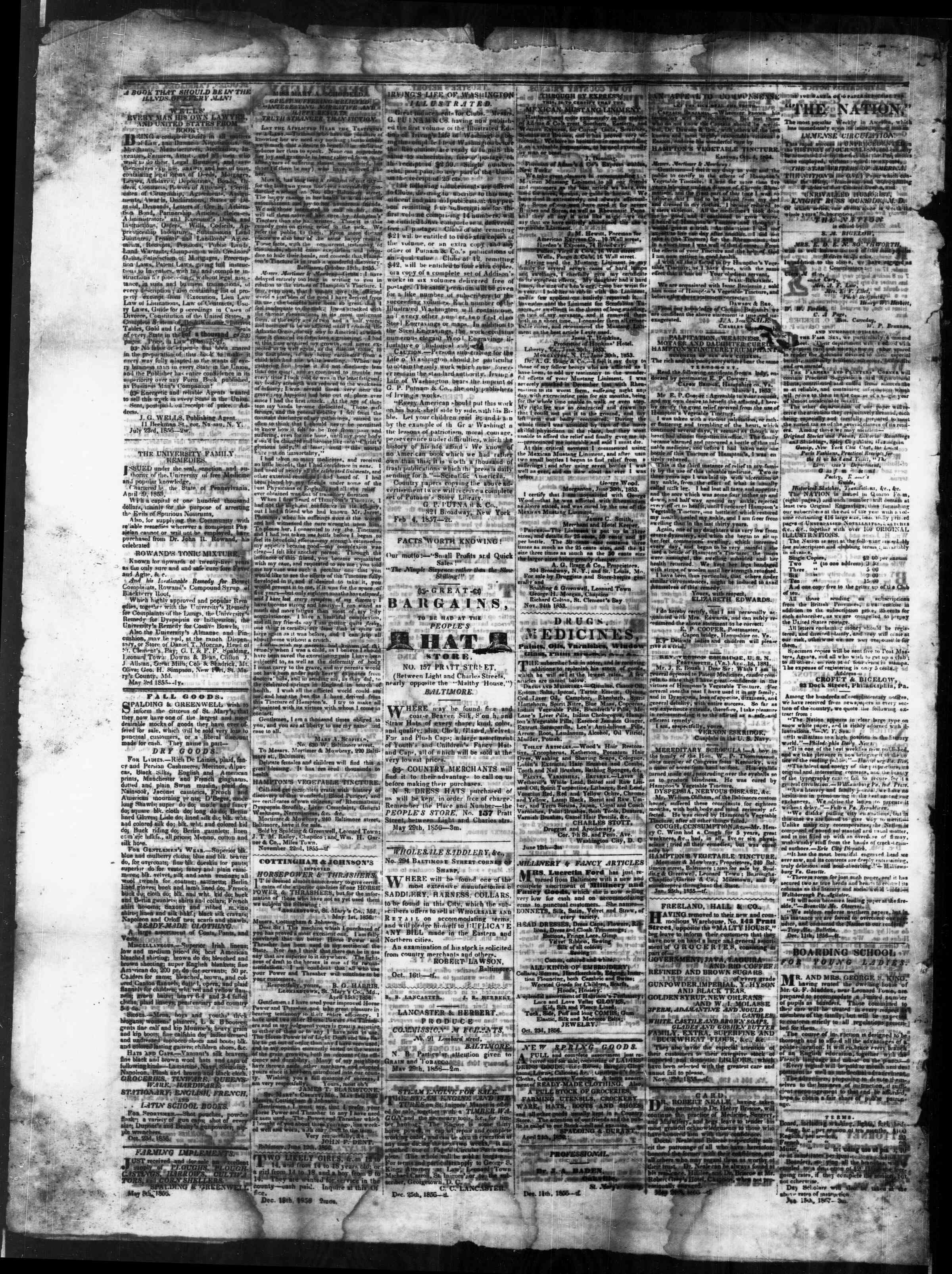 Newspaper of St. Mary's Beacon dated March 5, 1857 Page 4