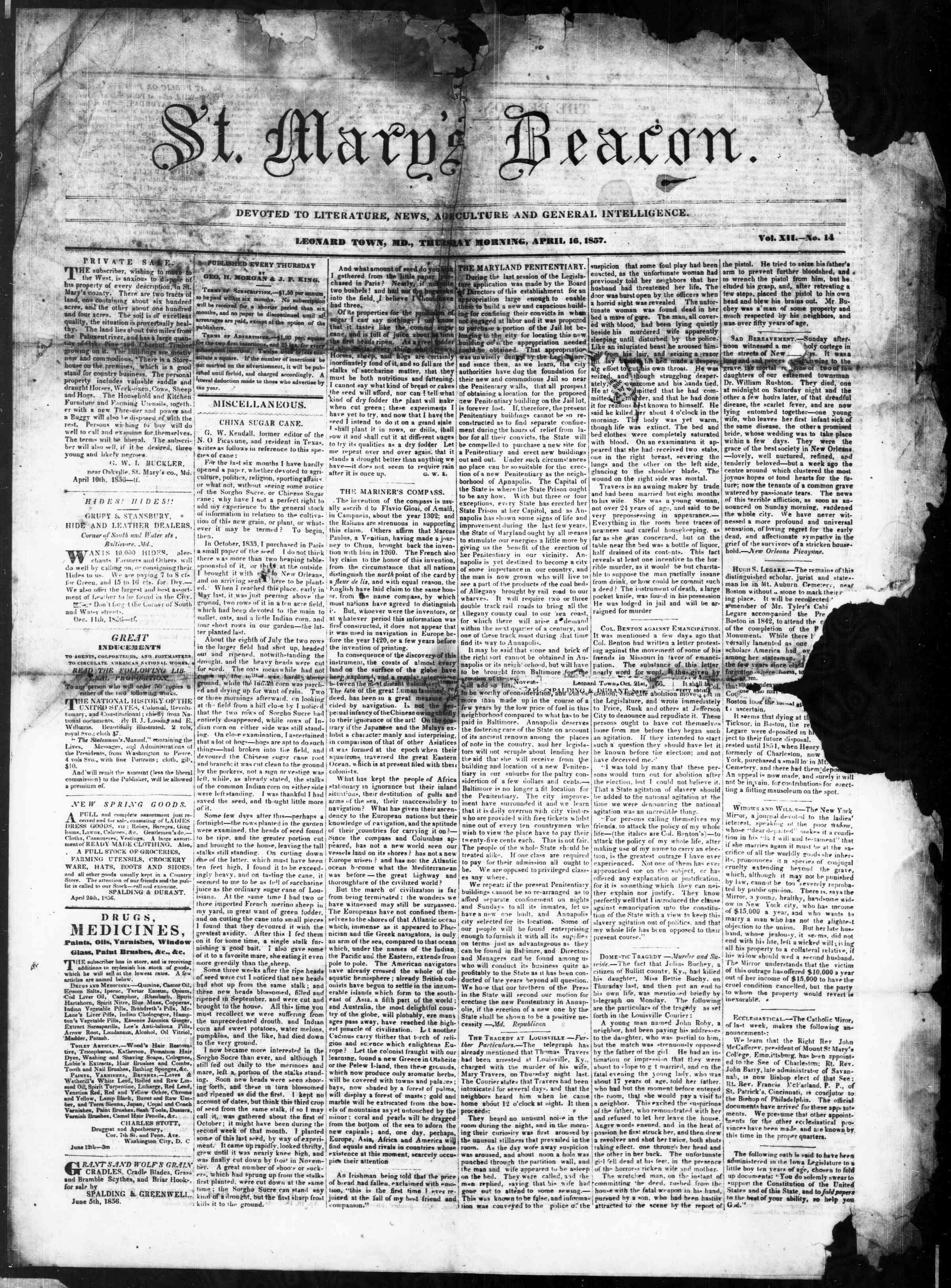 Newspaper of St. Mary's Beacon dated April 16, 1857 Page 1