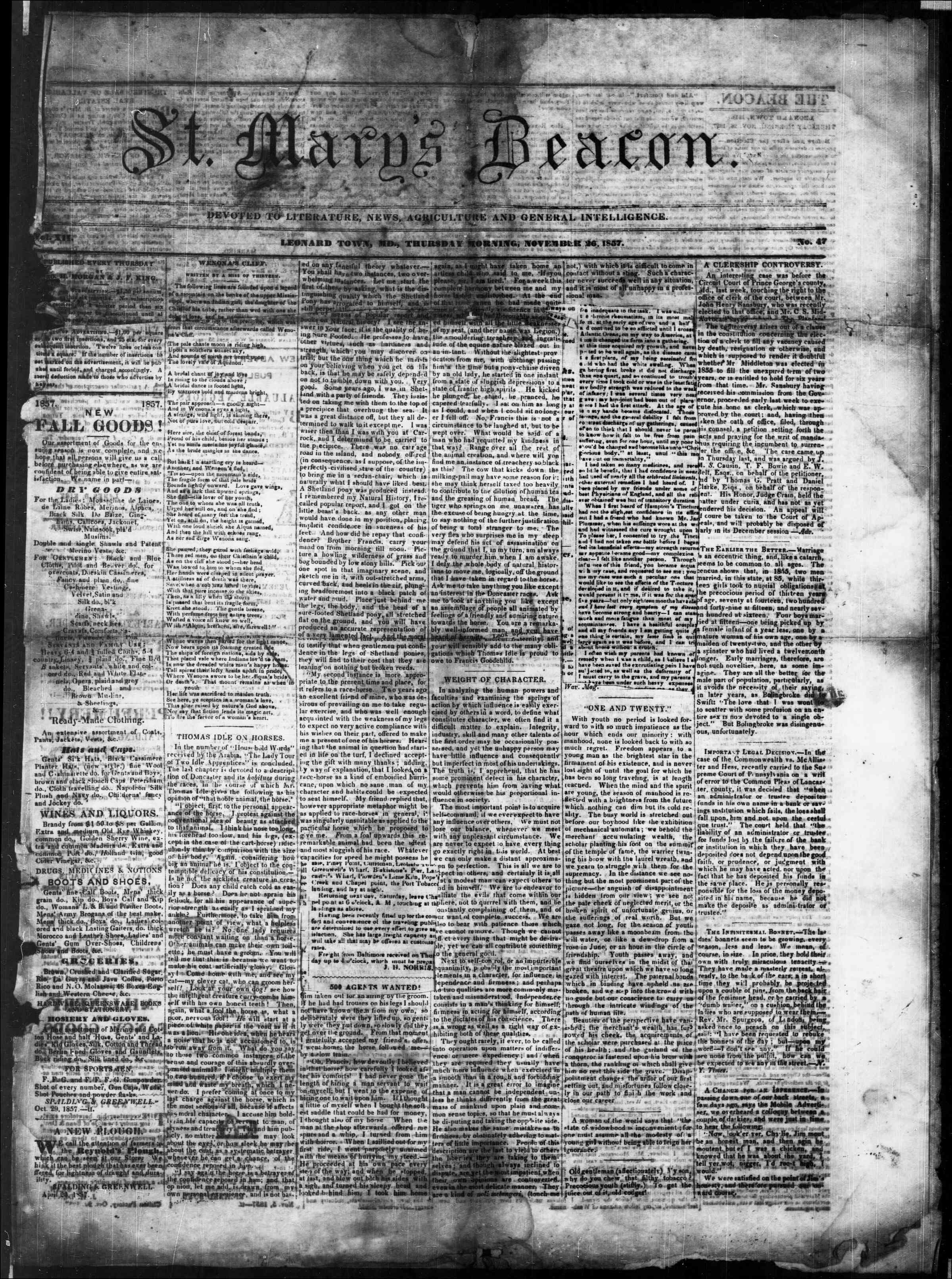 Newspaper of St. Mary's Beacon dated November 26, 1857 Page 1
