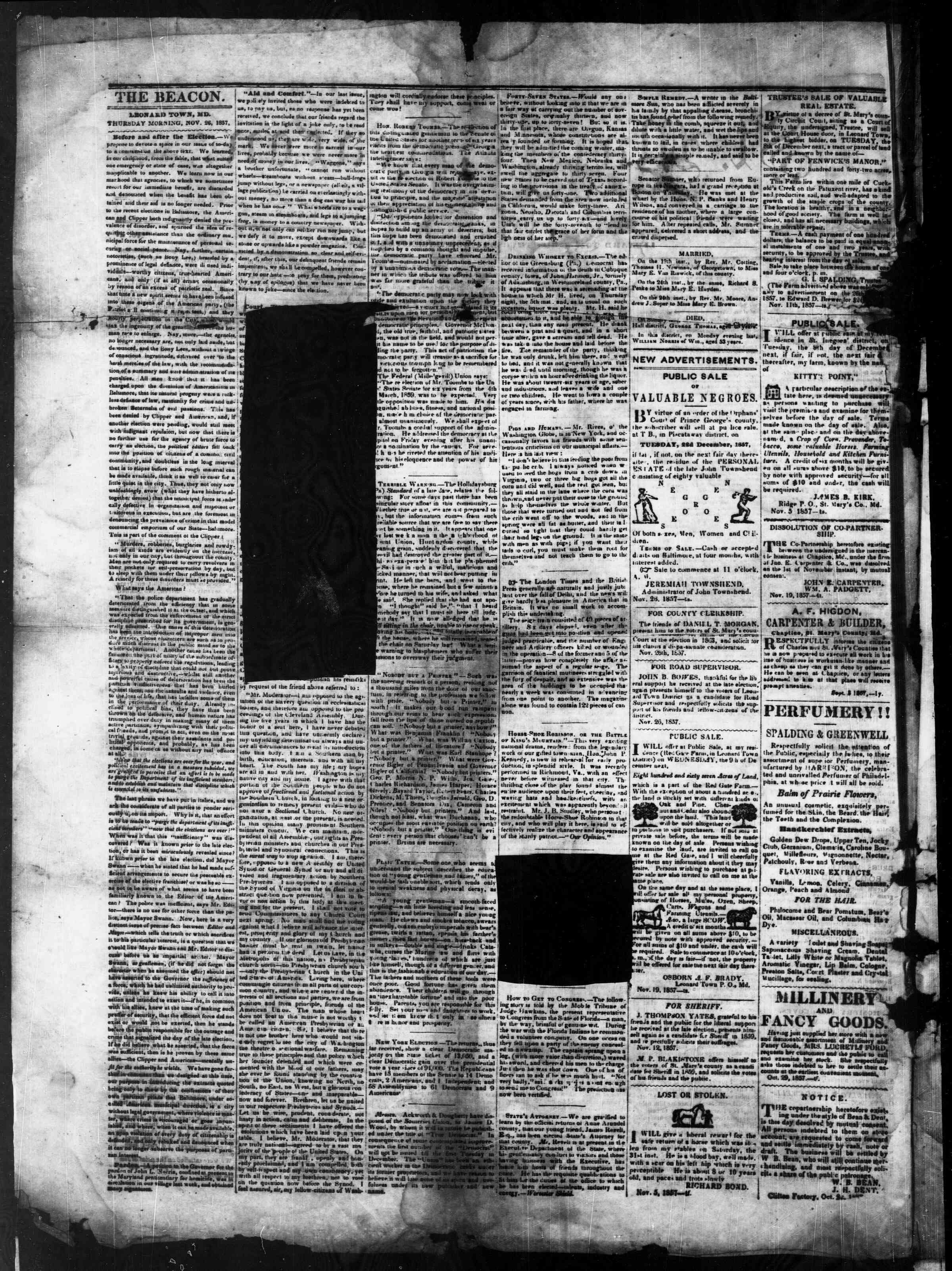Newspaper of St. Mary's Beacon dated November 26, 1857 Page 2