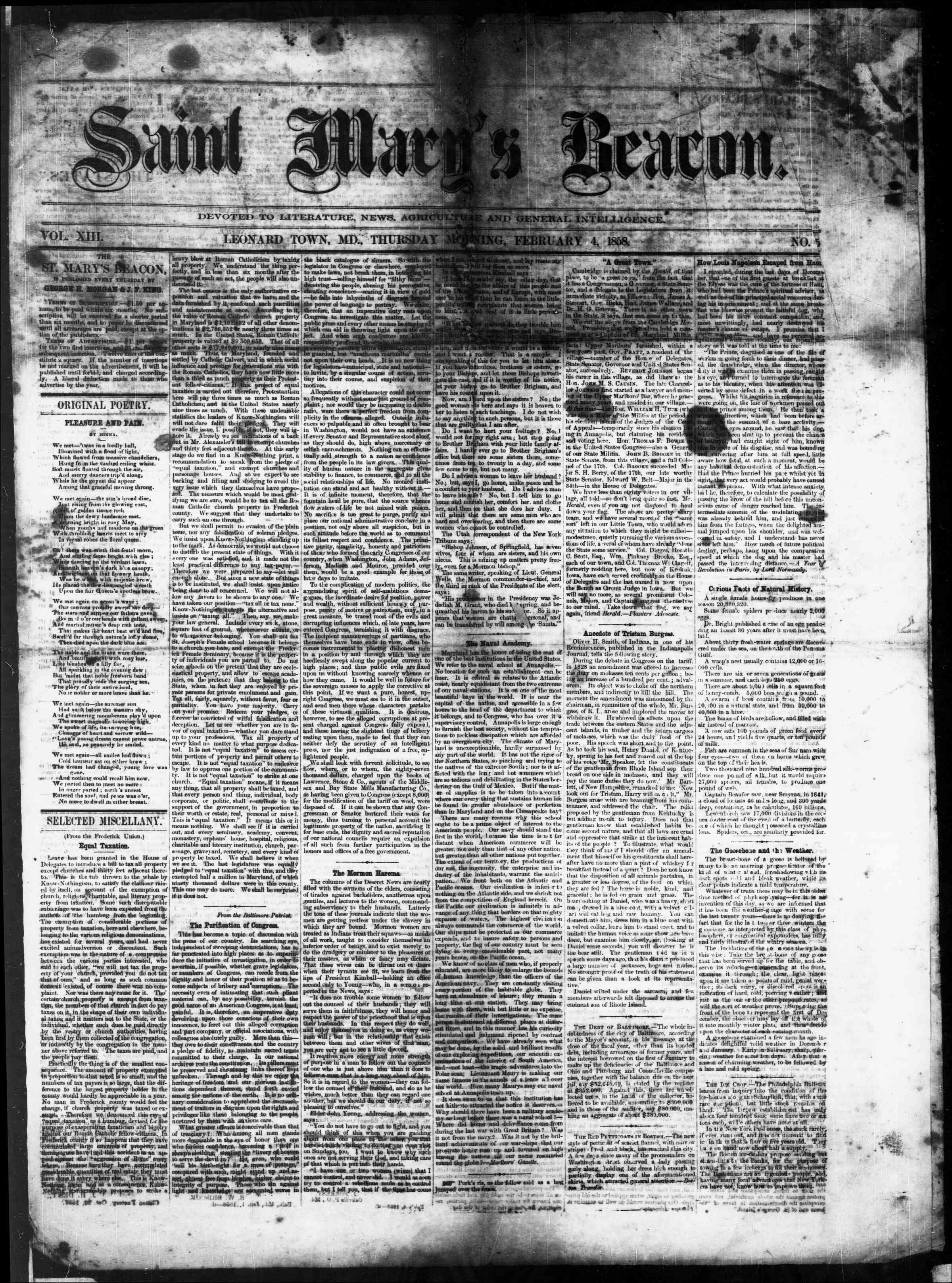 Newspaper of St. Mary's Beacon dated February 4, 1858 Page 1