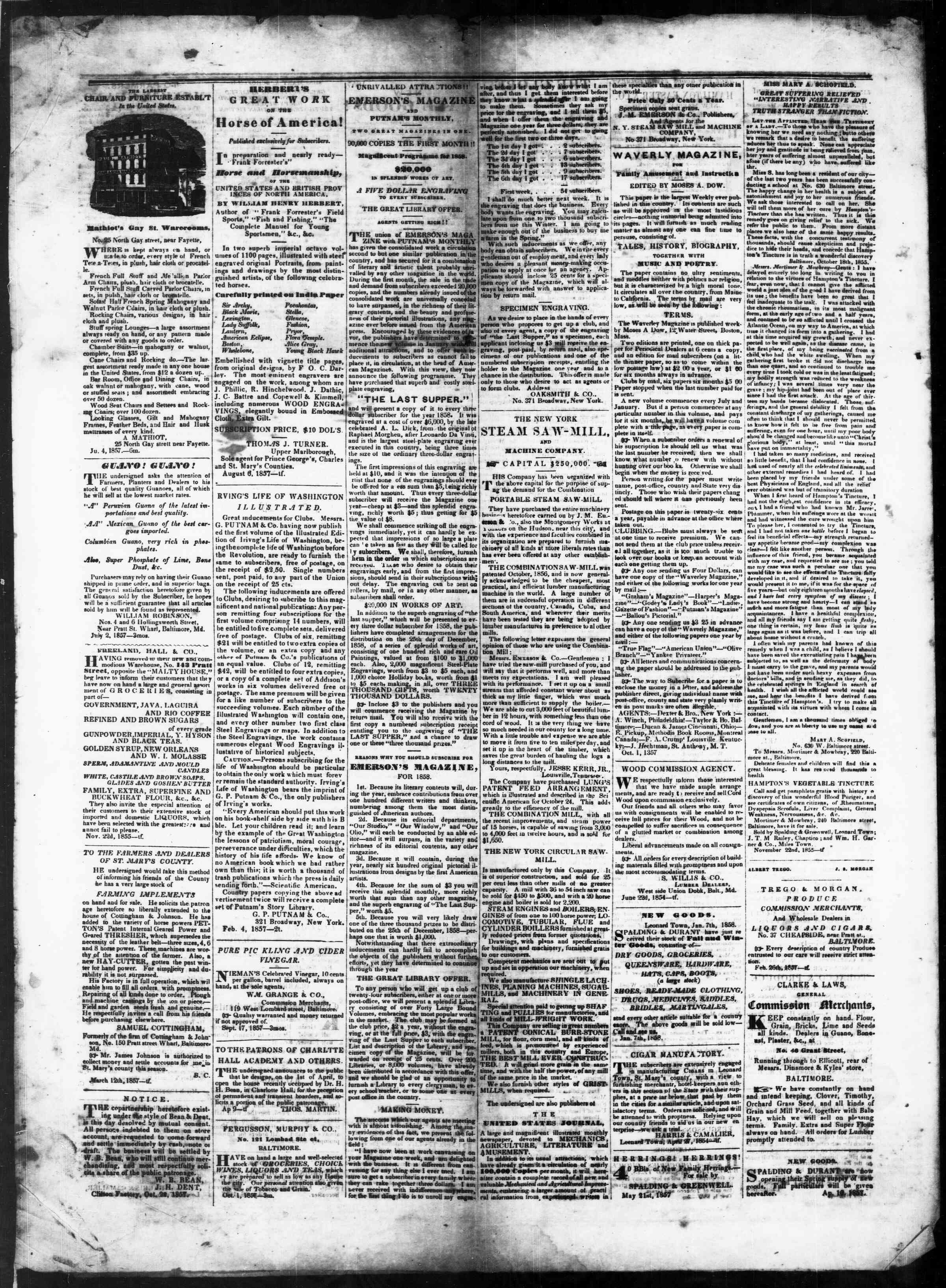 Newspaper of St. Mary's Beacon dated February 4, 1858 Page 4