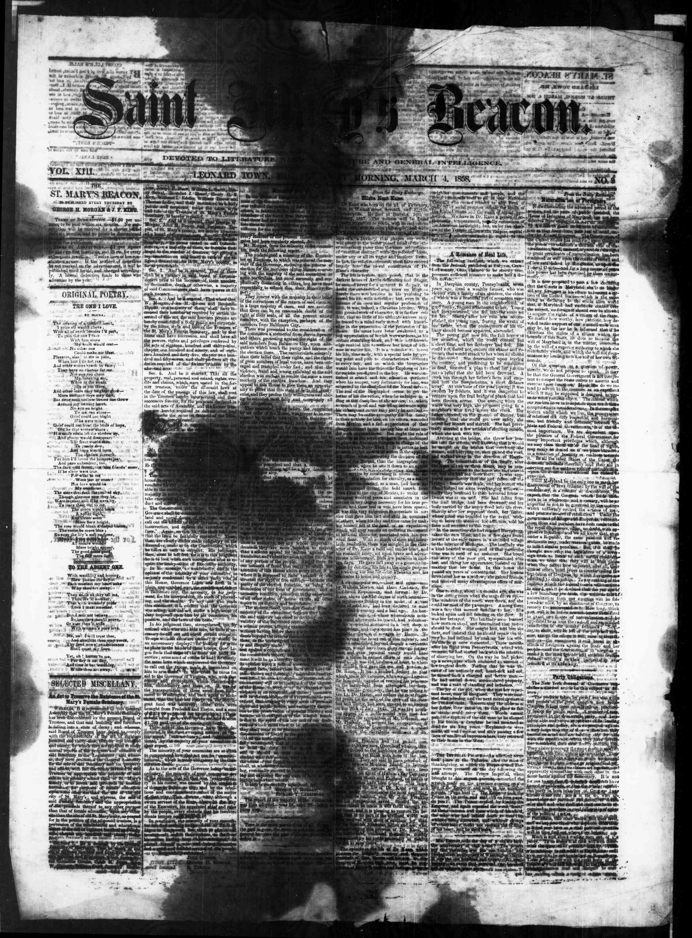 Newspaper of St. Mary's Beacon dated March 4, 1858 Page 1