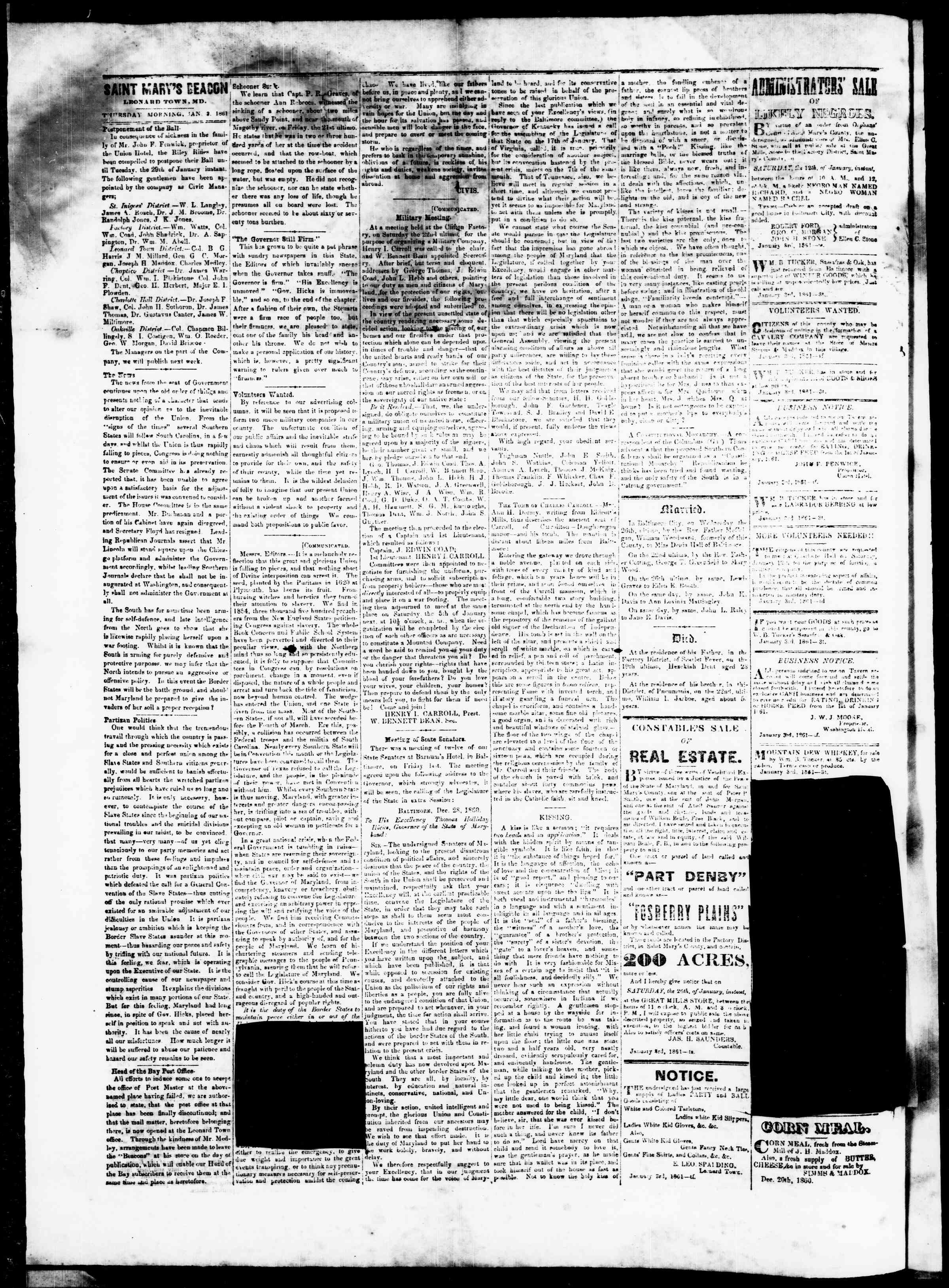 Newspaper of St. Mary's Beacon dated January 3, 1861 Page 2