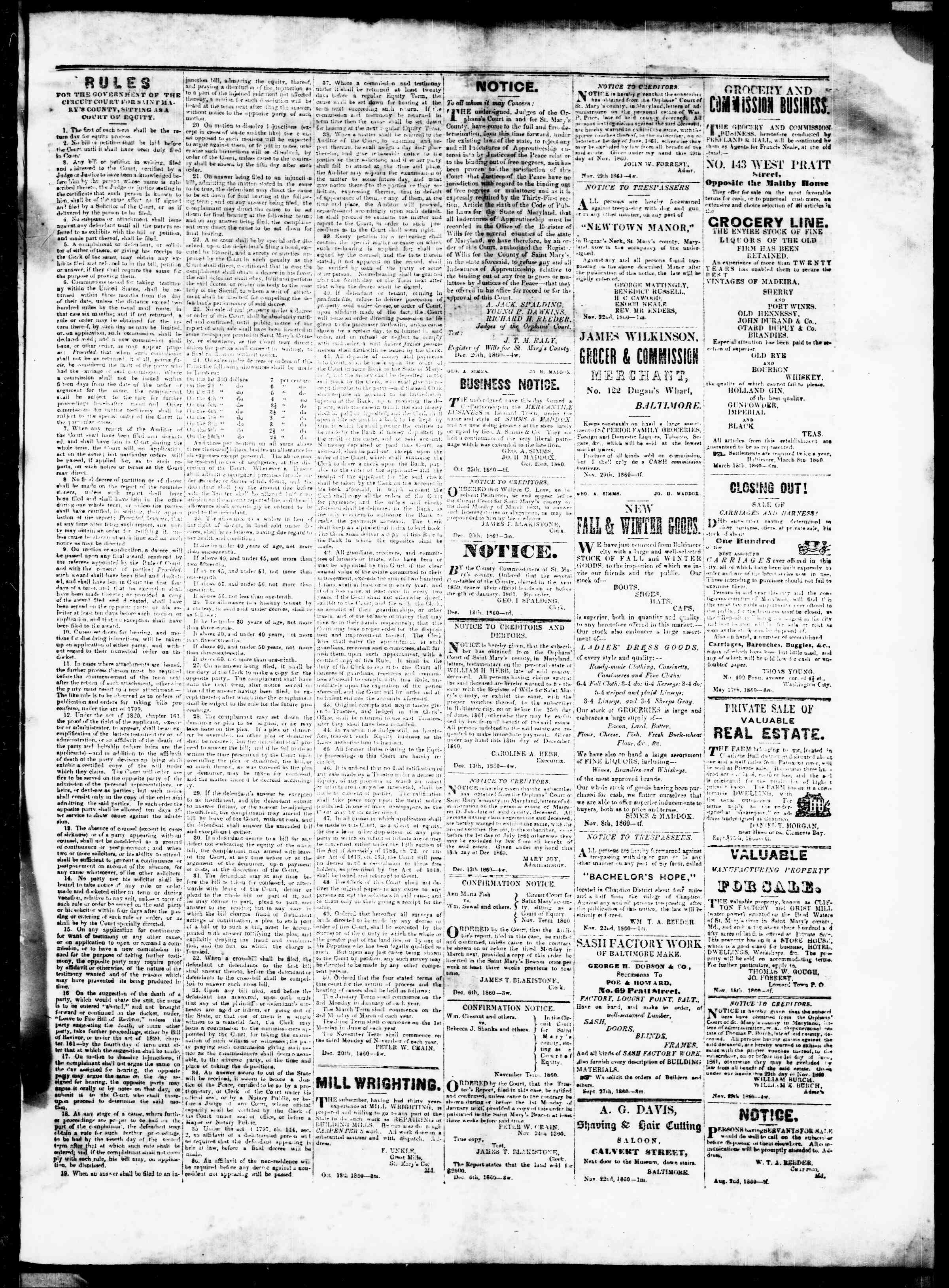 Newspaper of St. Mary's Beacon dated January 3, 1861 Page 3