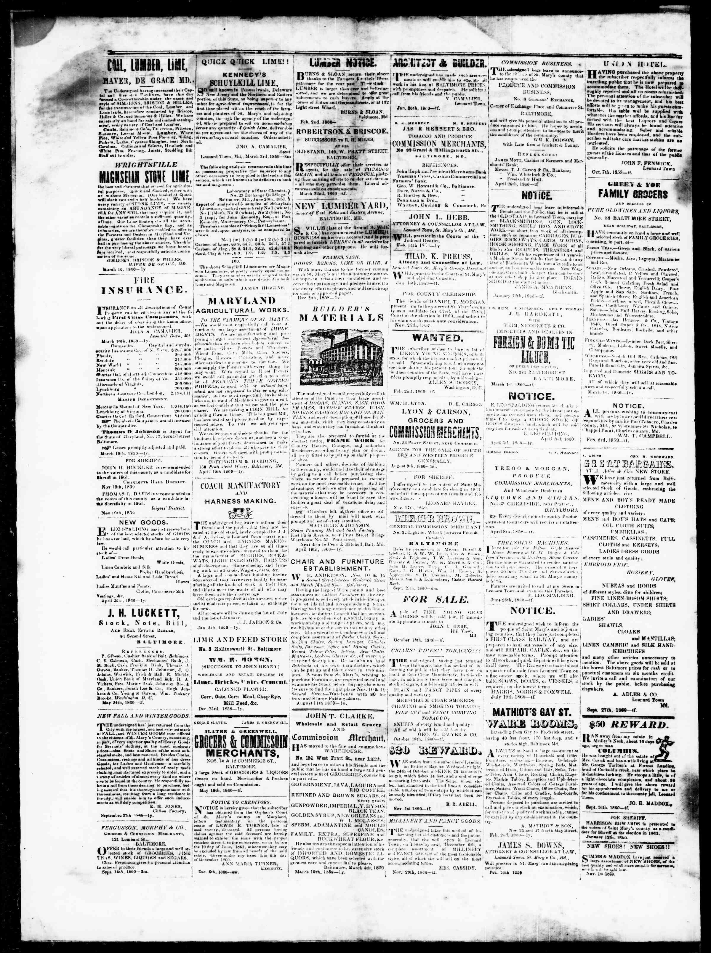 3 Ocak 1861 tarihli St. Mary's Beacon Gazetesi Sayfa 4