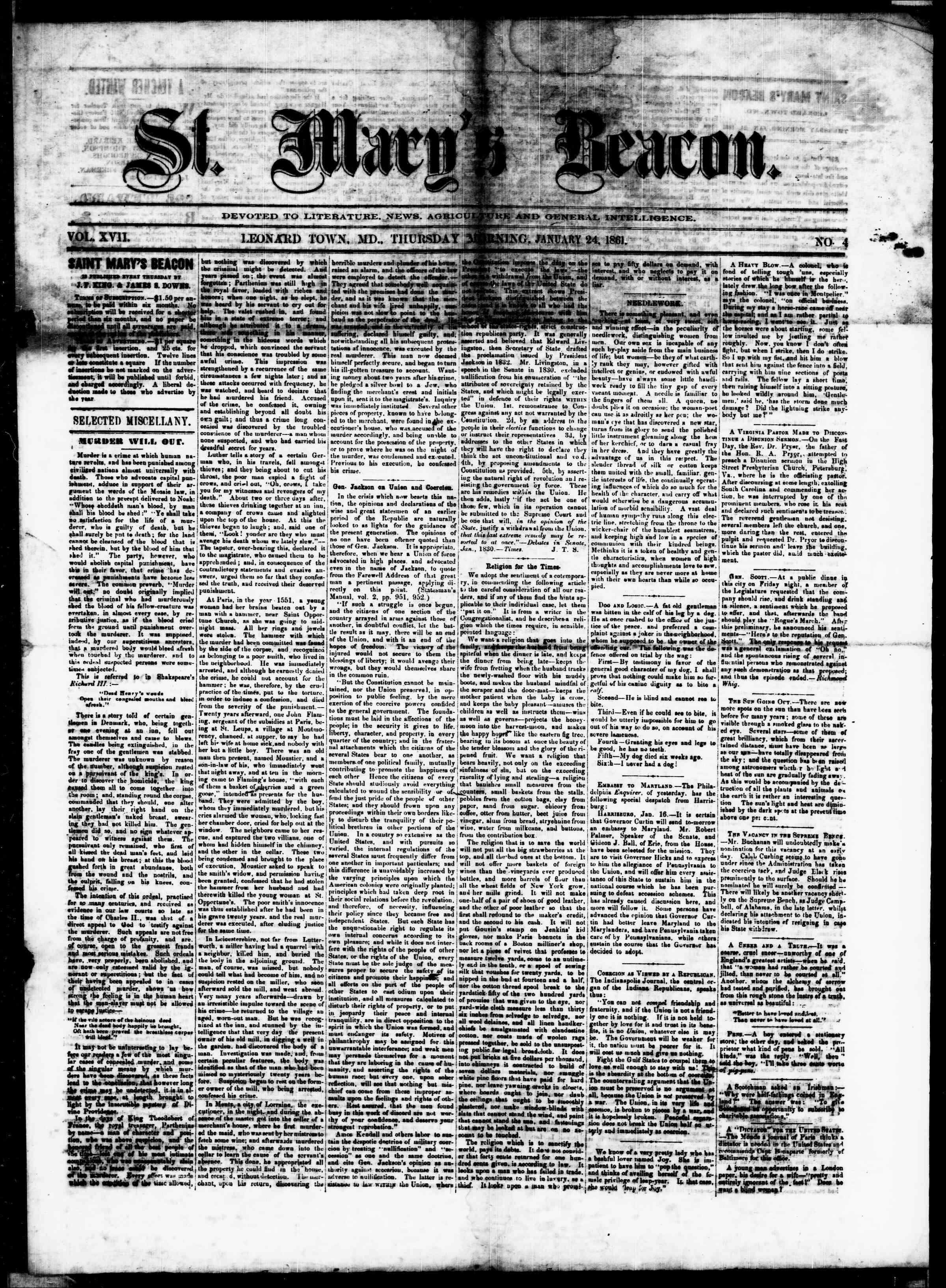 24 Ocak 1861 tarihli St. Mary's Beacon Gazetesi Sayfa 1