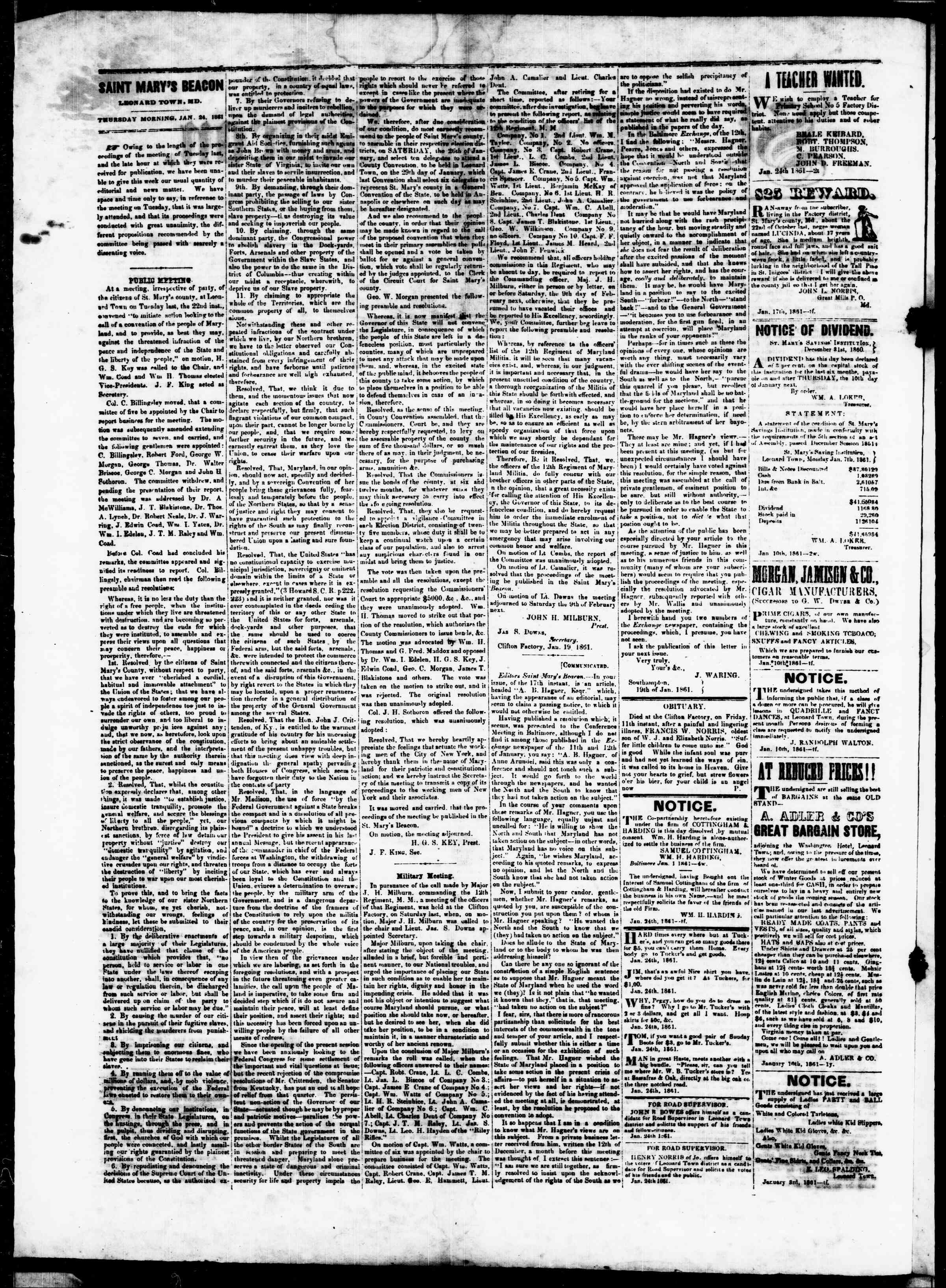 Newspaper of St. Mary's Beacon dated January 24, 1861 Page 2