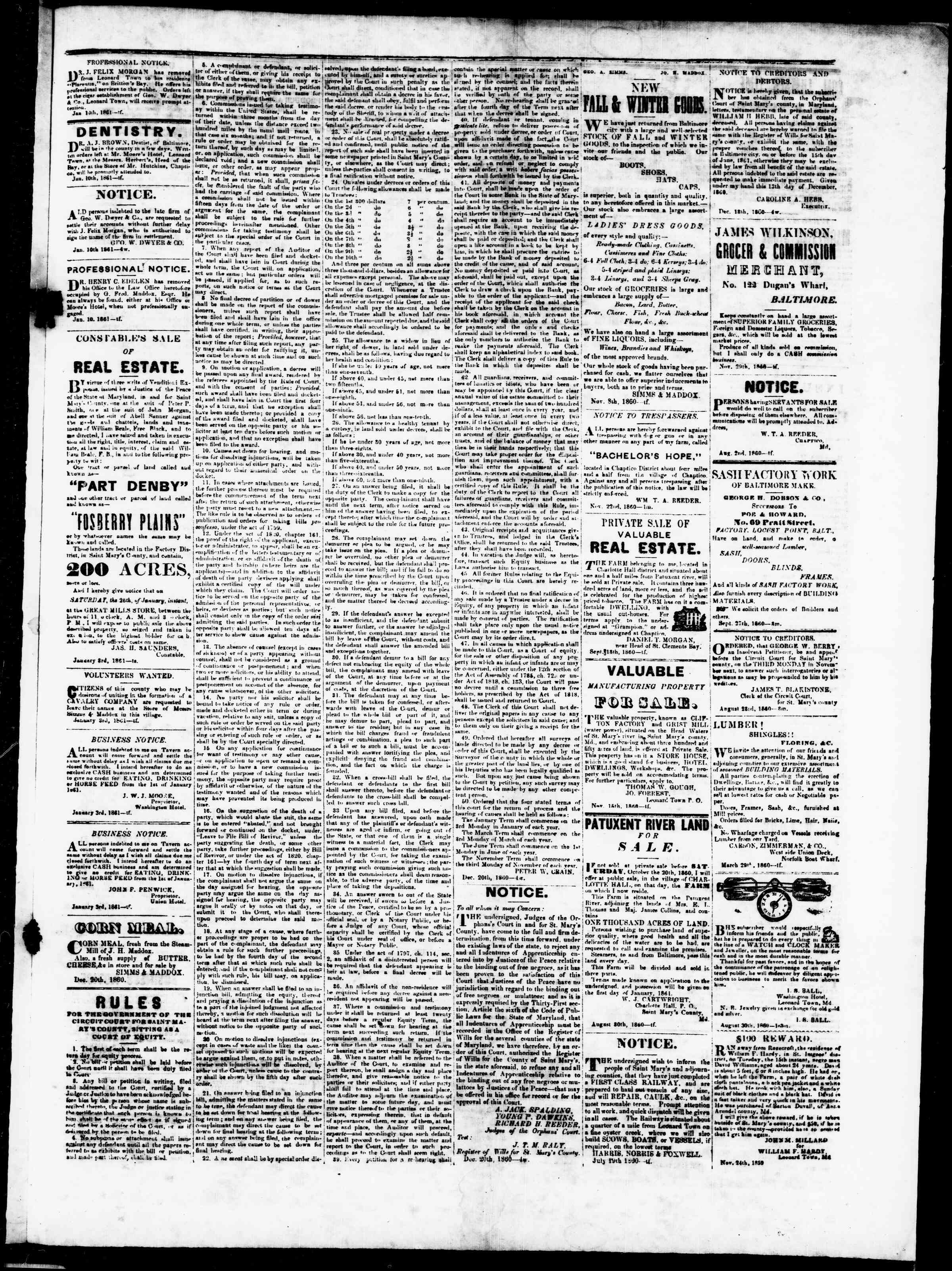 Newspaper of St. Mary's Beacon dated January 24, 1861 Page 3