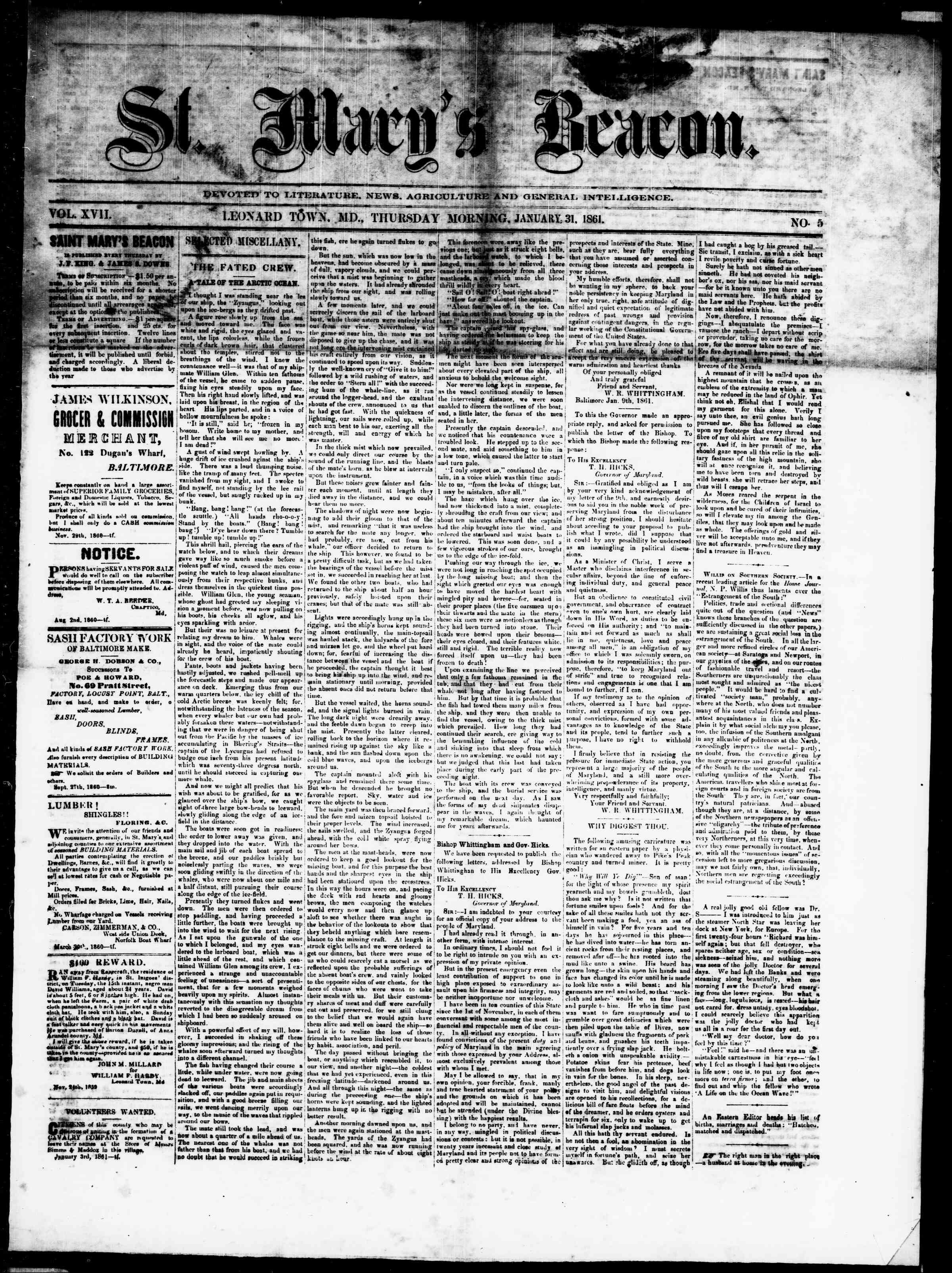 Newspaper of St. Mary's Beacon dated January 31, 1861 Page 1