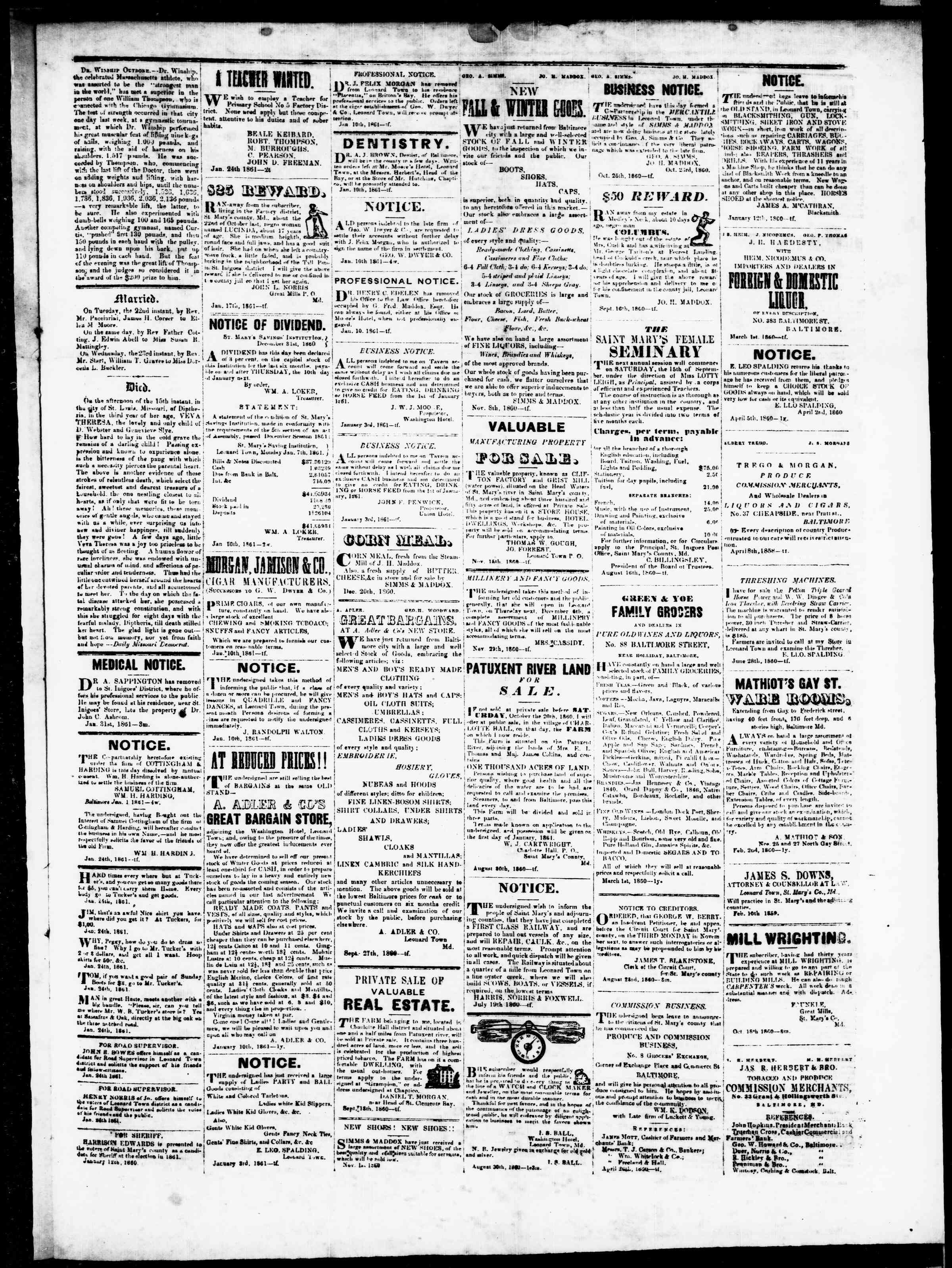 Newspaper of St. Mary's Beacon dated January 31, 1861 Page 3