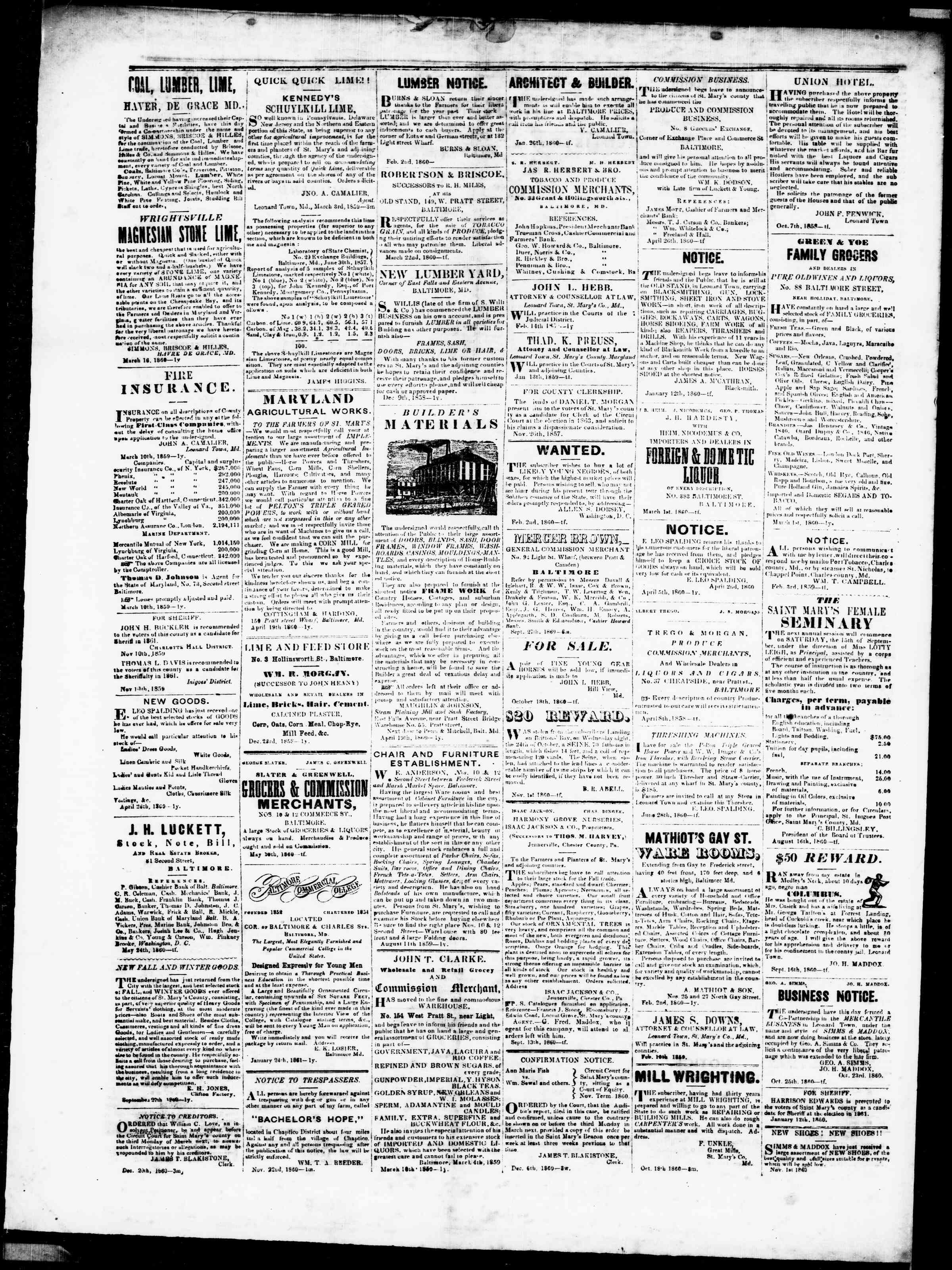 Newspaper of St. Mary's Beacon dated January 31, 1861 Page 4
