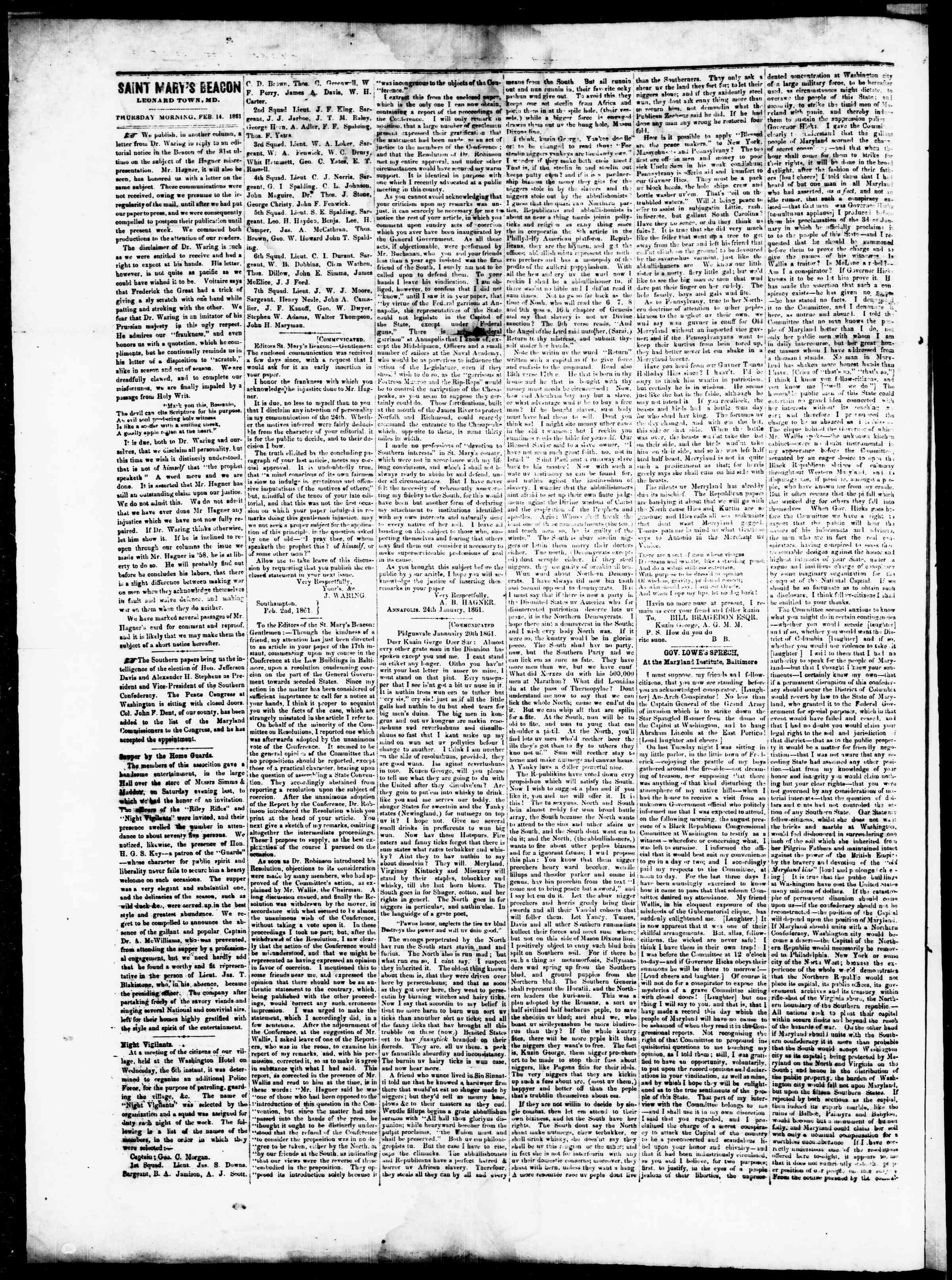 Newspaper of St. Mary's Beacon dated February 14, 1861 Page 2