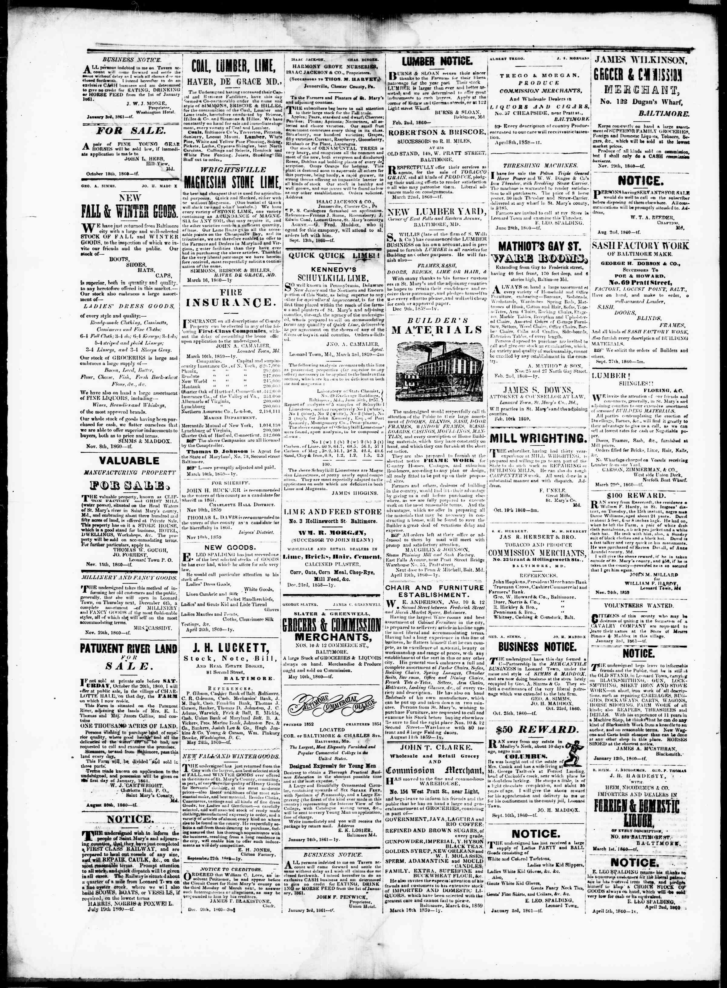 Newspaper of St. Mary's Beacon dated February 14, 1861 Page 4