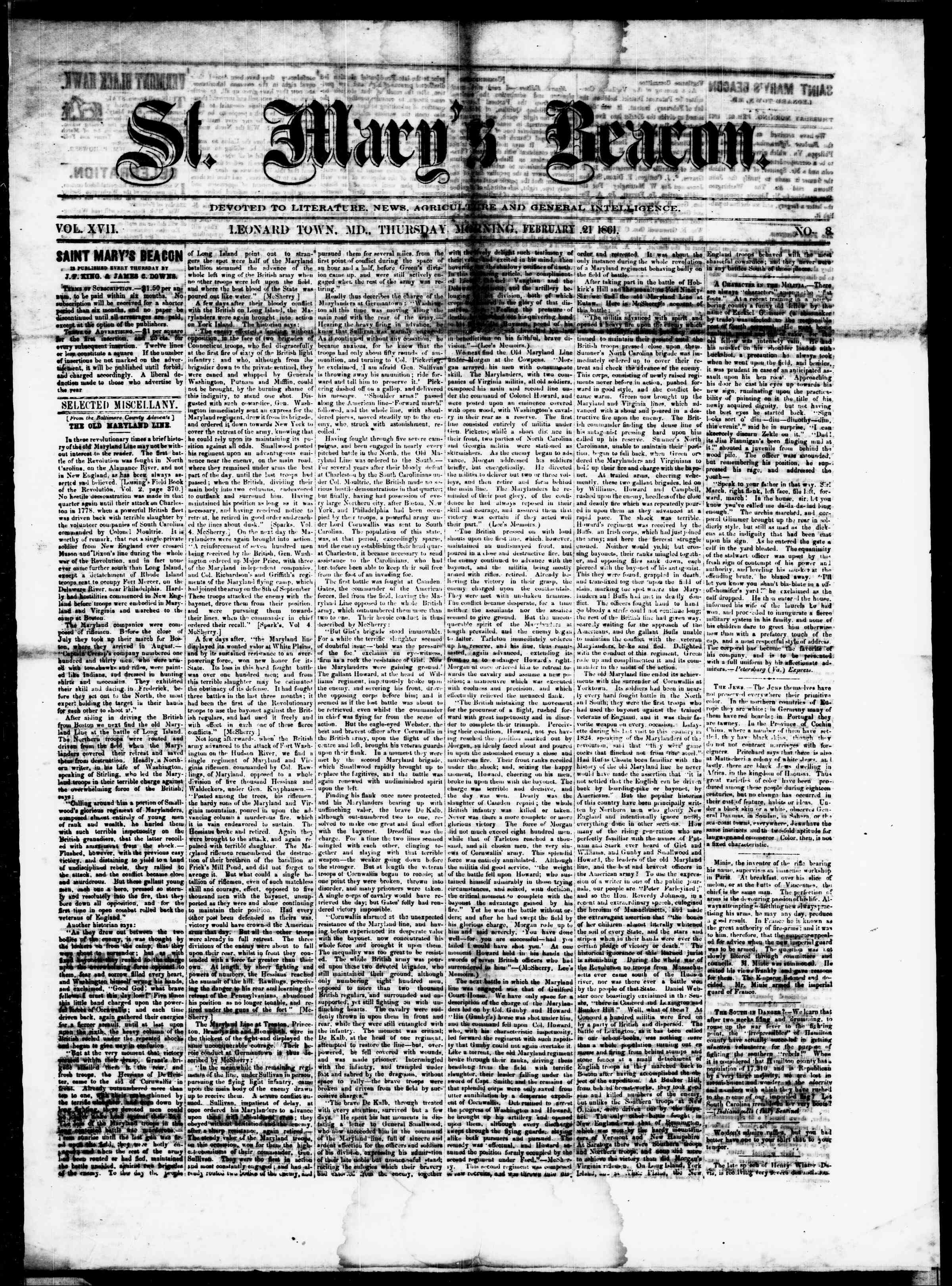 Newspaper of St. Mary's Beacon dated February 21, 1861 Page 1