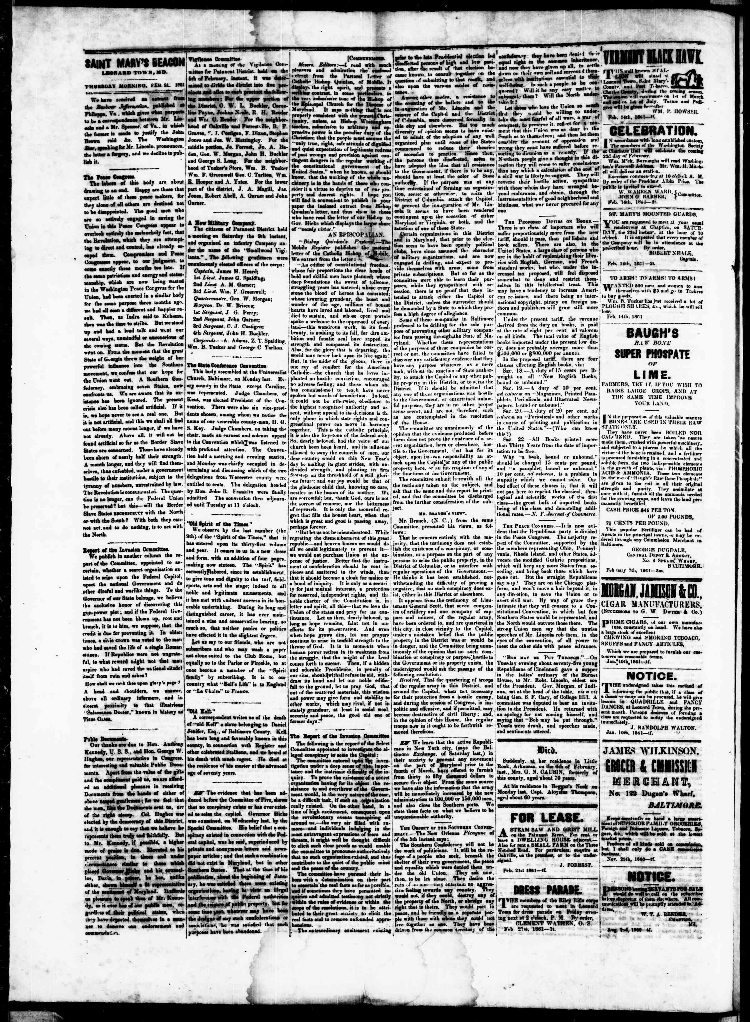 Newspaper of St. Mary's Beacon dated February 21, 1861 Page 2