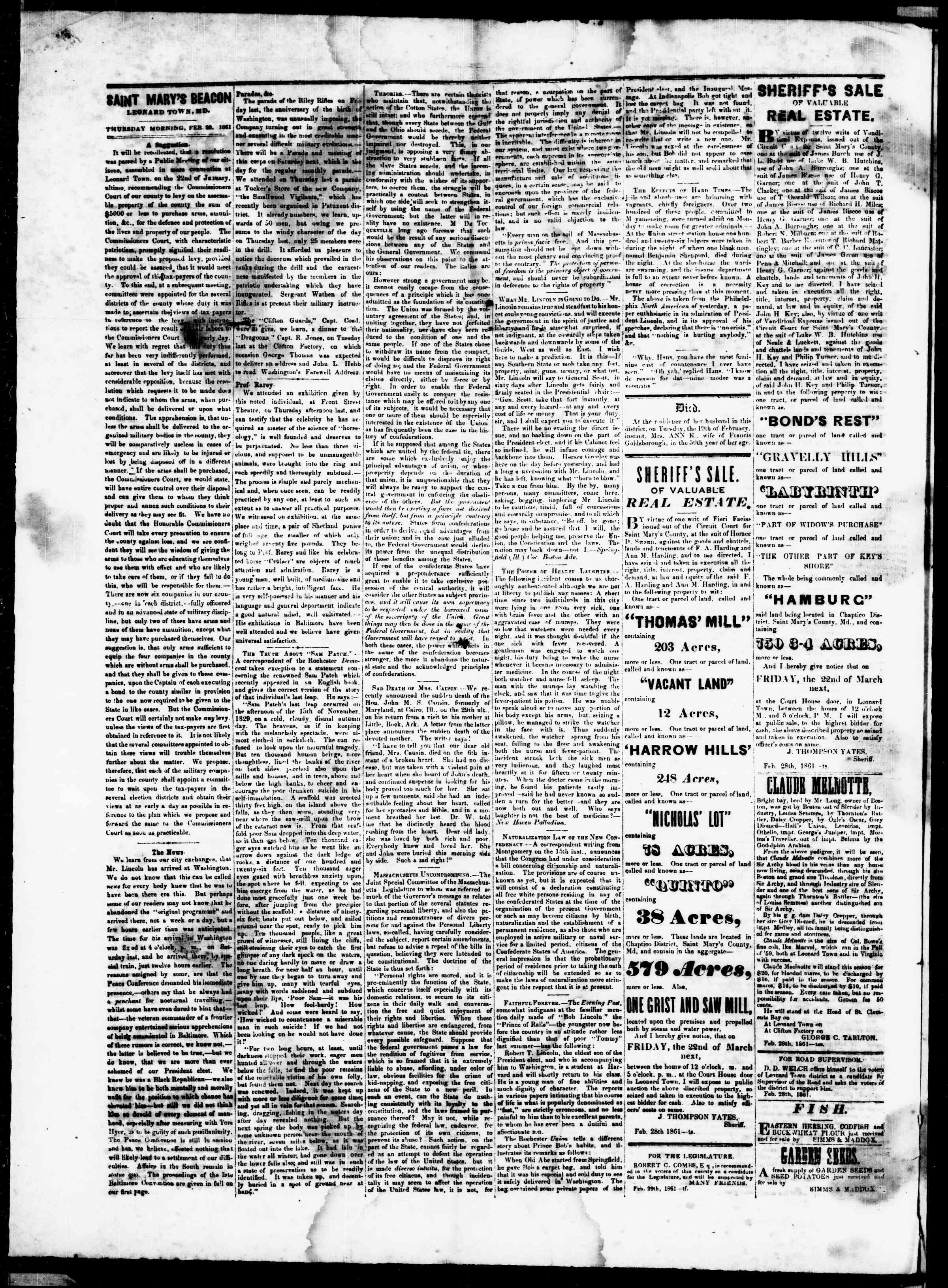 Newspaper of St. Mary's Beacon dated February 28, 1861 Page 2