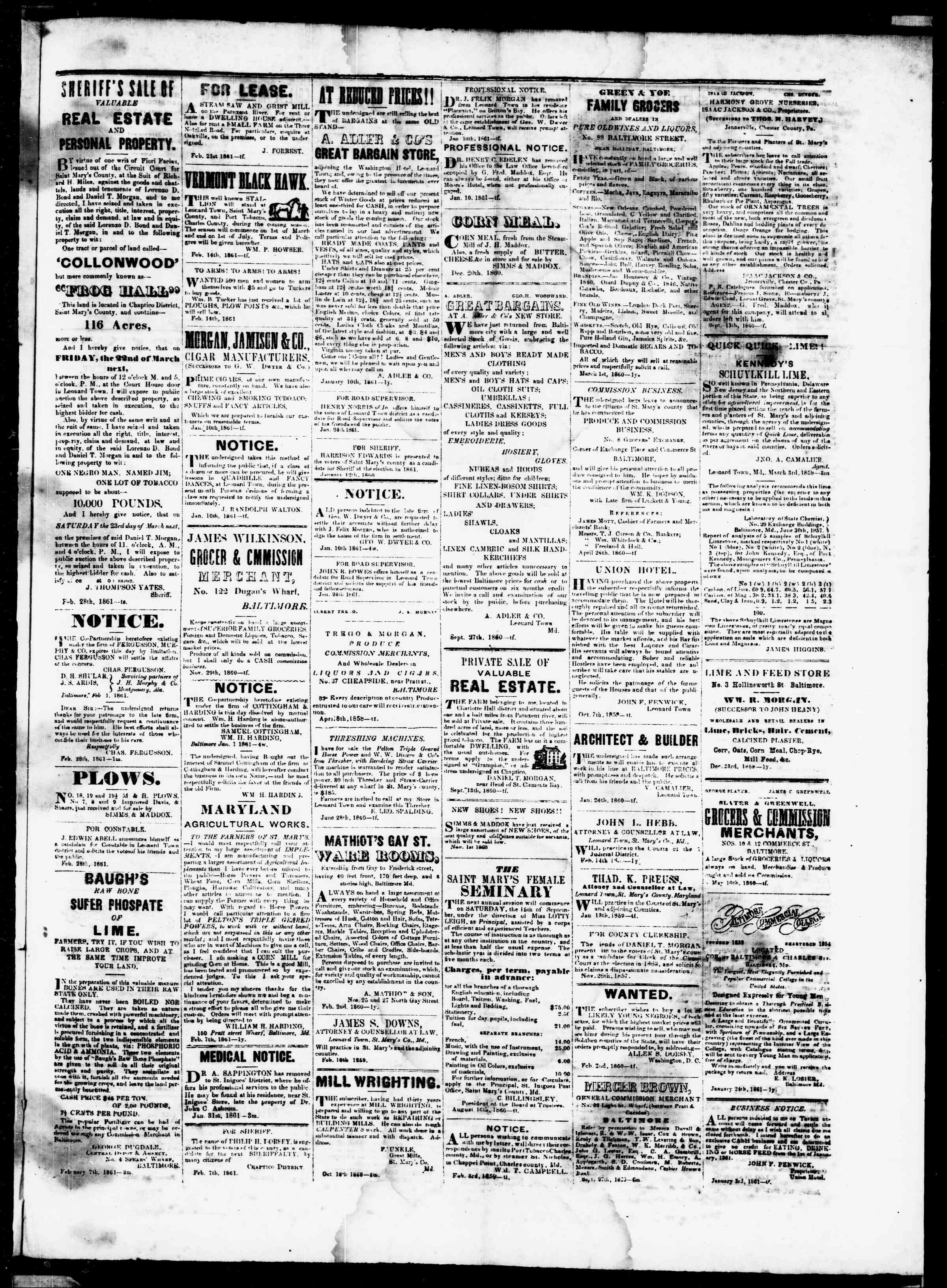 Newspaper of St. Mary's Beacon dated February 28, 1861 Page 3