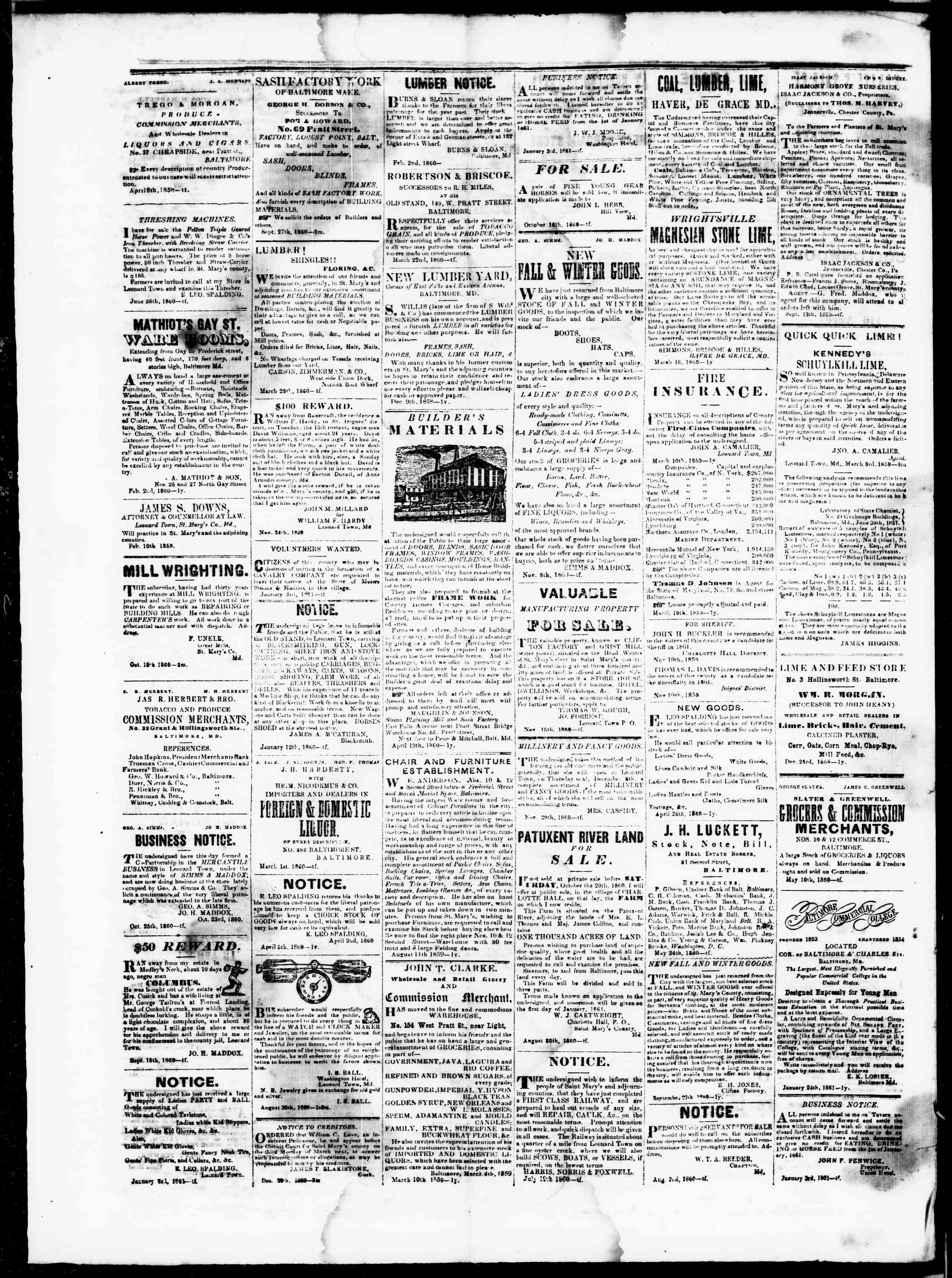 Newspaper of St. Mary's Beacon dated February 28, 1861 Page 4