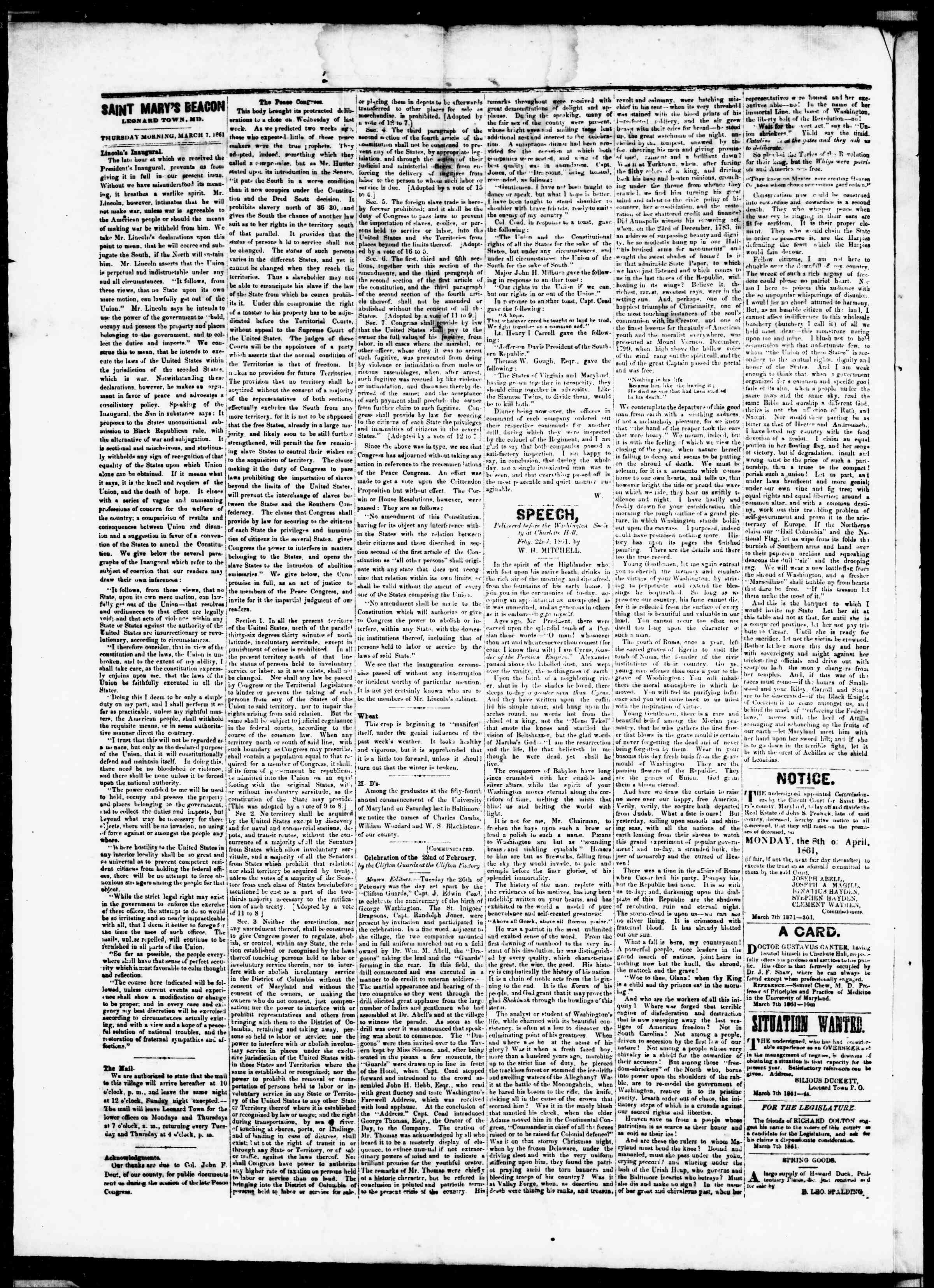 Newspaper of St. Mary's Beacon dated March 7, 1861 Page 2