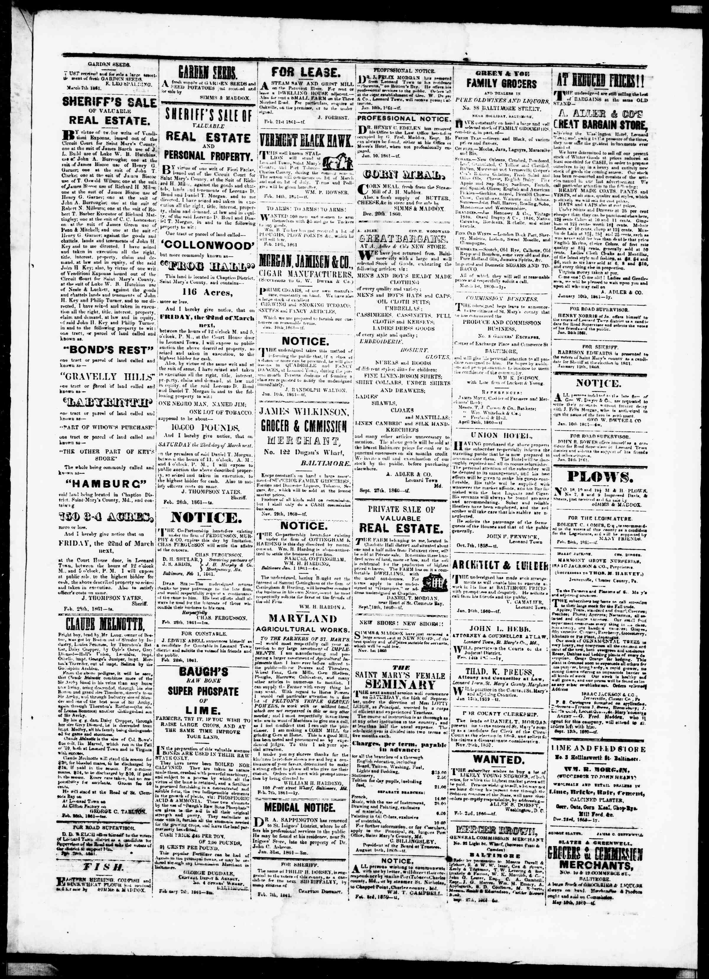 Newspaper of St. Mary's Beacon dated March 7, 1861 Page 3