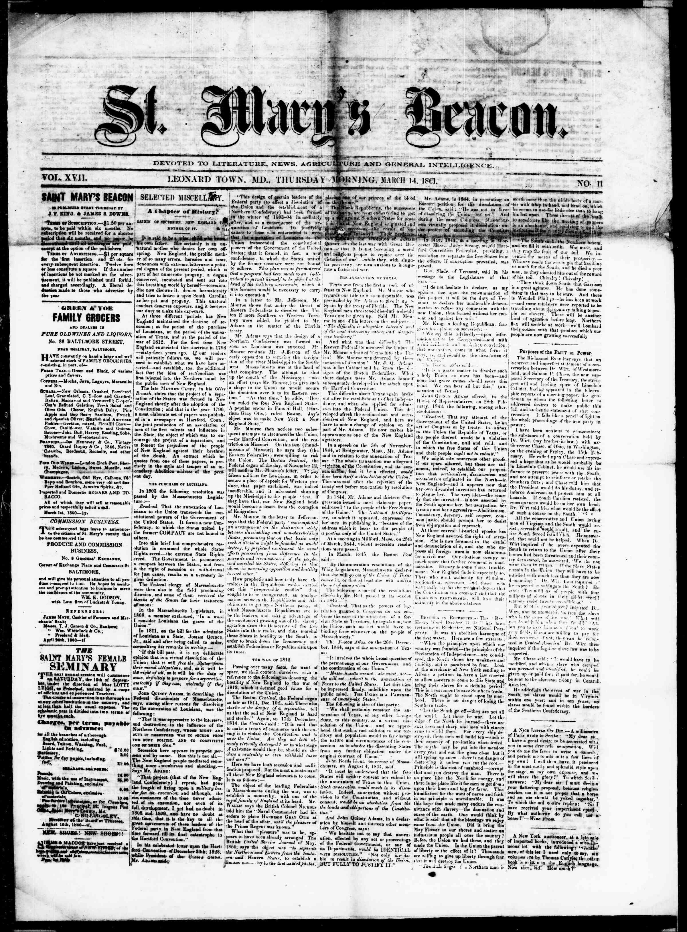 Newspaper of St. Mary's Beacon dated March 14, 1861 Page 1