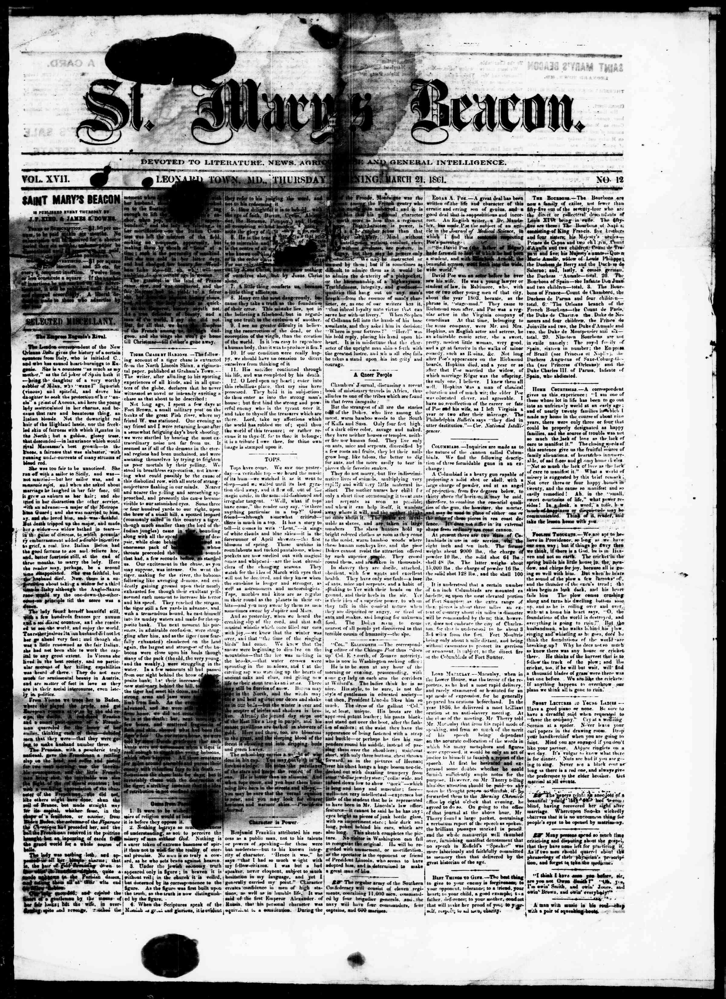 Newspaper of St. Mary's Beacon dated March 21, 1861 Page 1