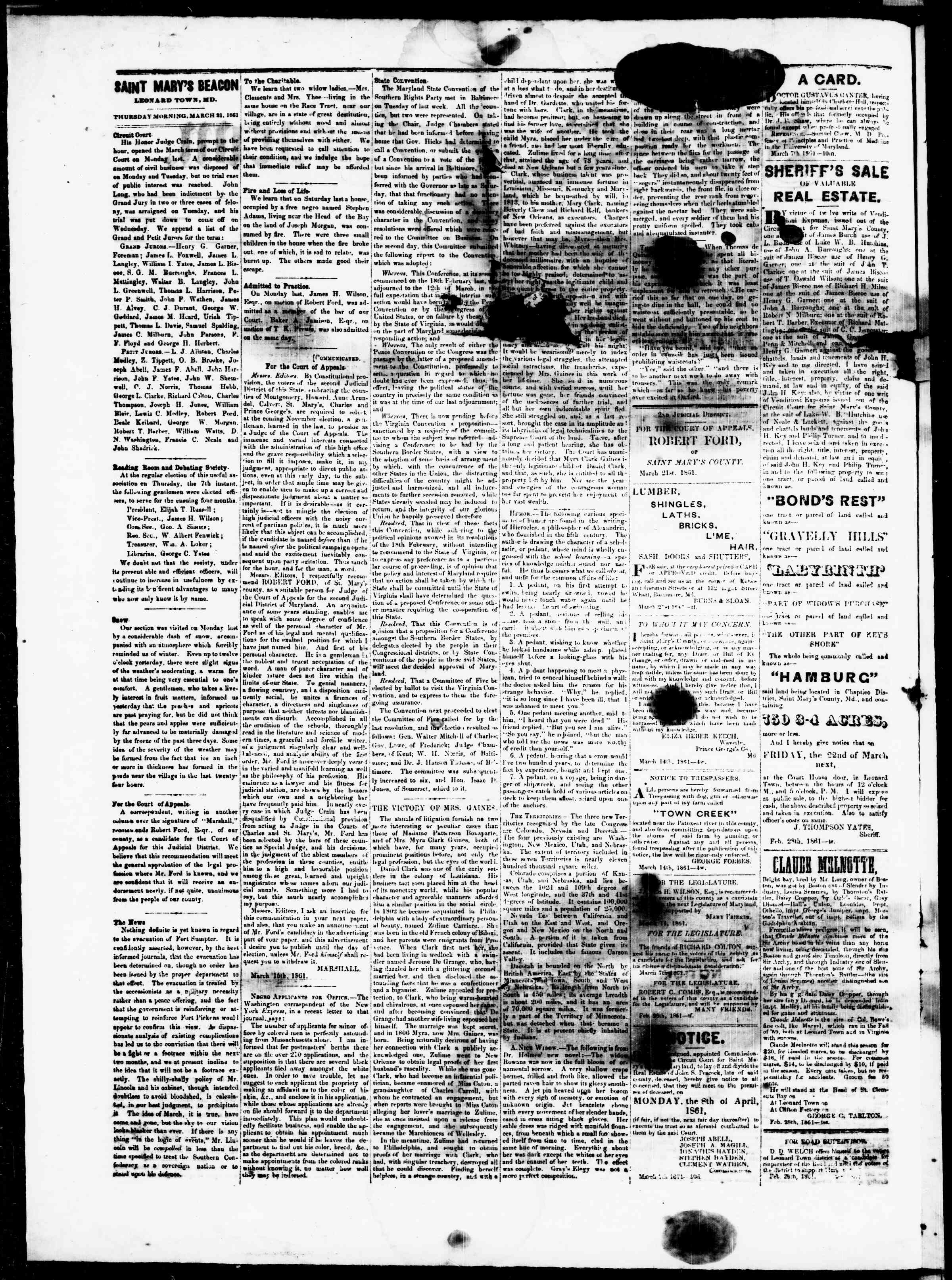 Newspaper of St. Mary's Beacon dated March 21, 1861 Page 2