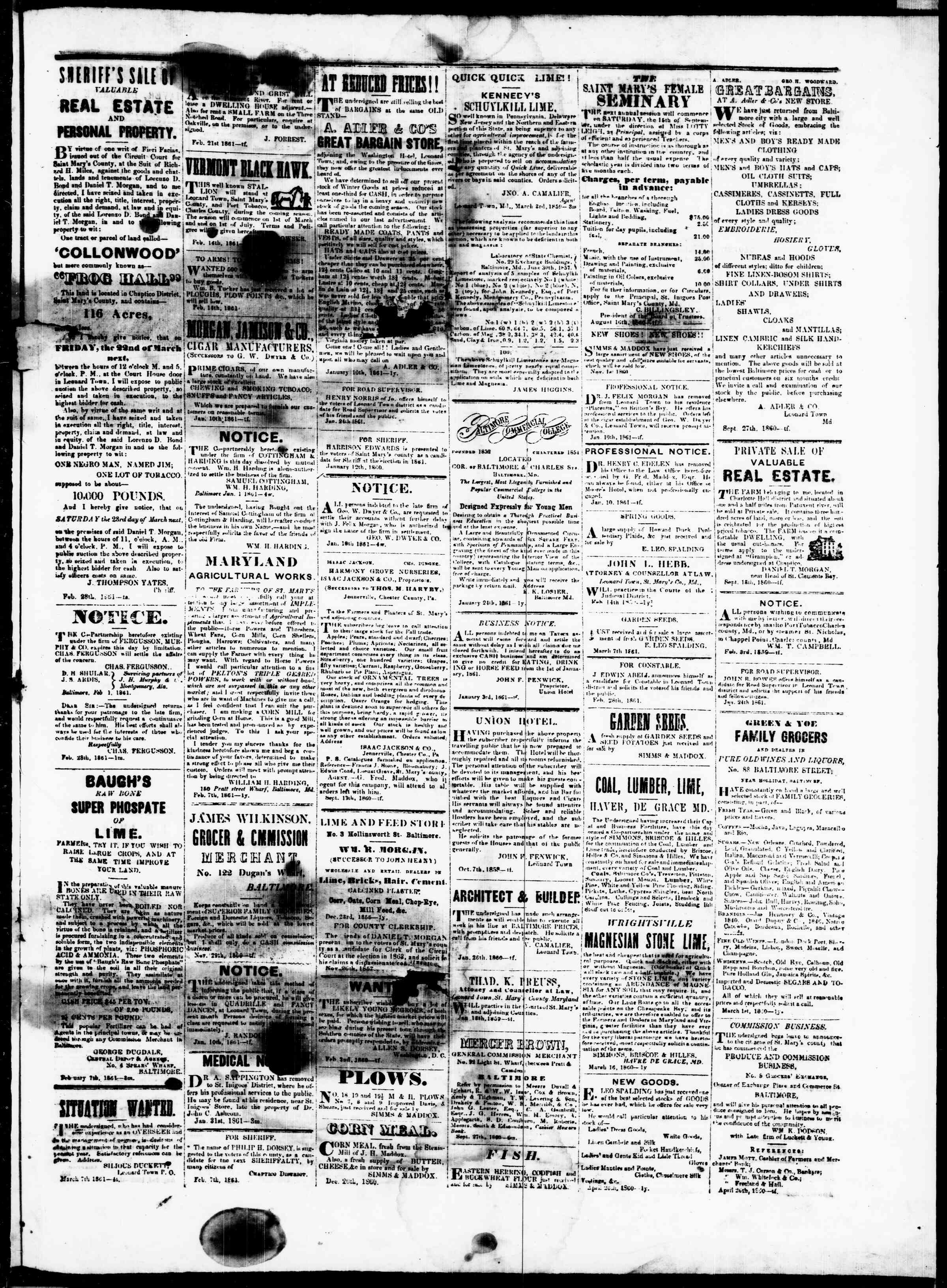 Newspaper of St. Mary's Beacon dated March 21, 1861 Page 3