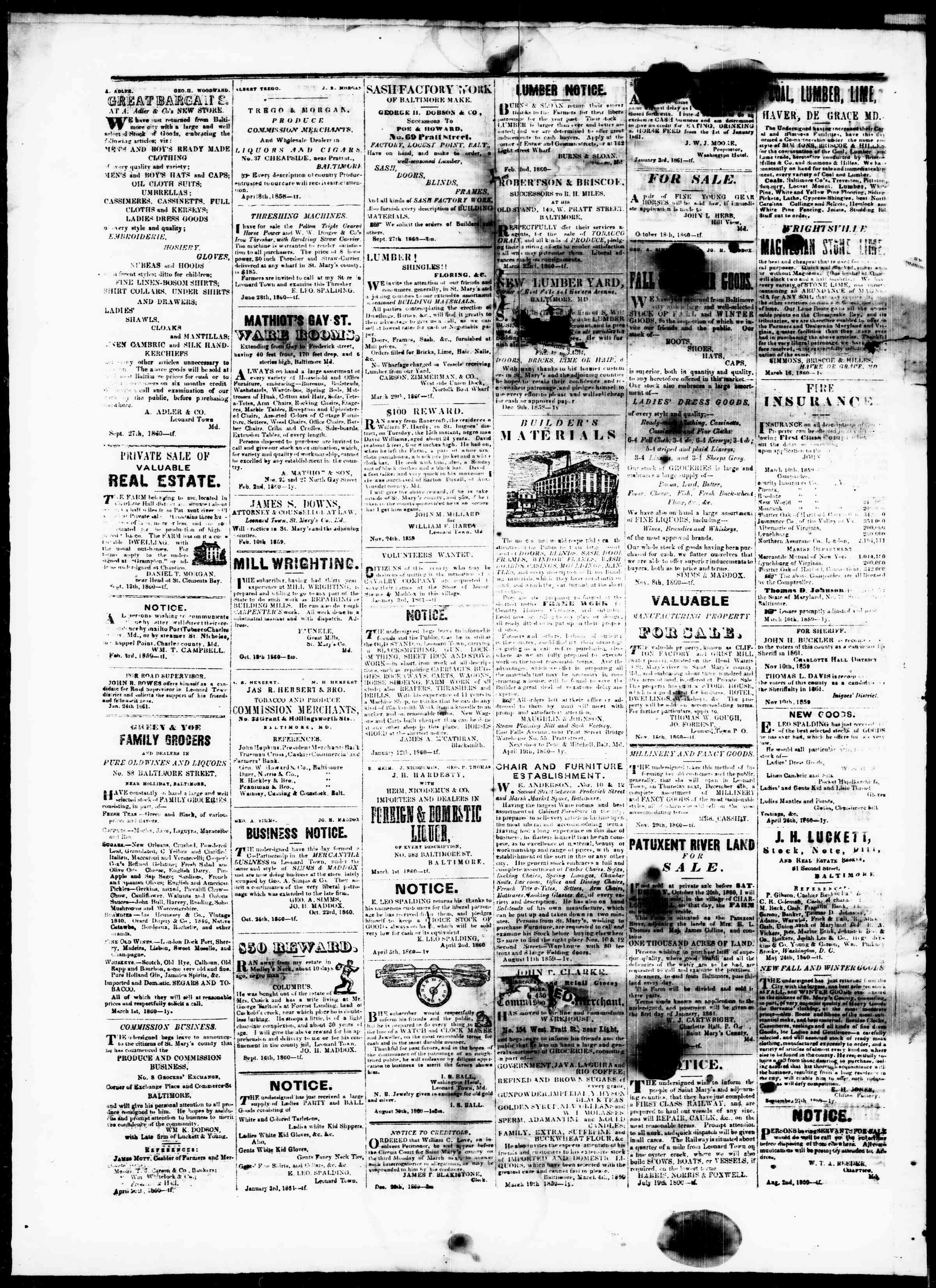Newspaper of St. Mary's Beacon dated March 21, 1861 Page 4