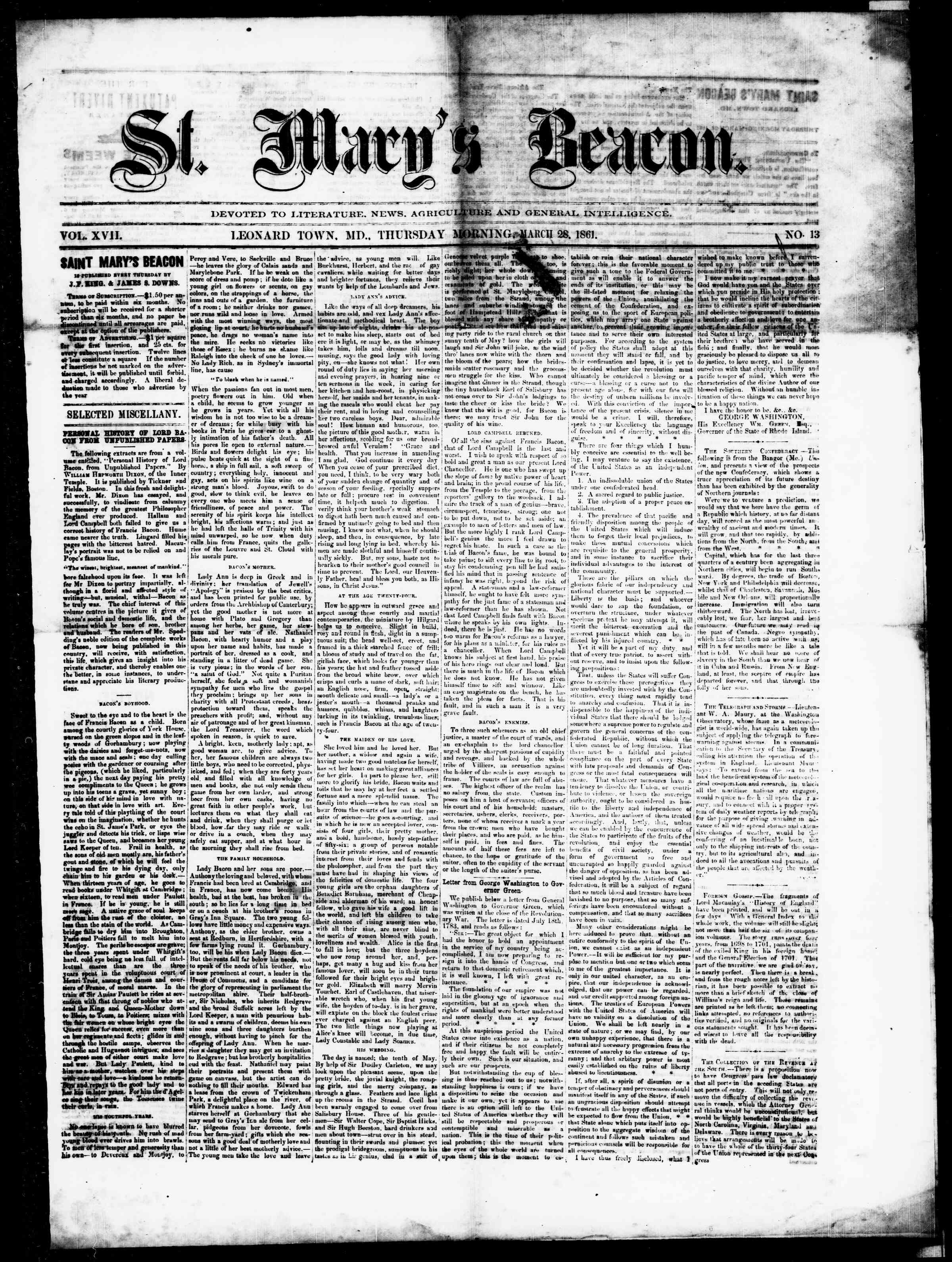 Newspaper of St. Mary's Beacon dated March 28, 1861 Page 1